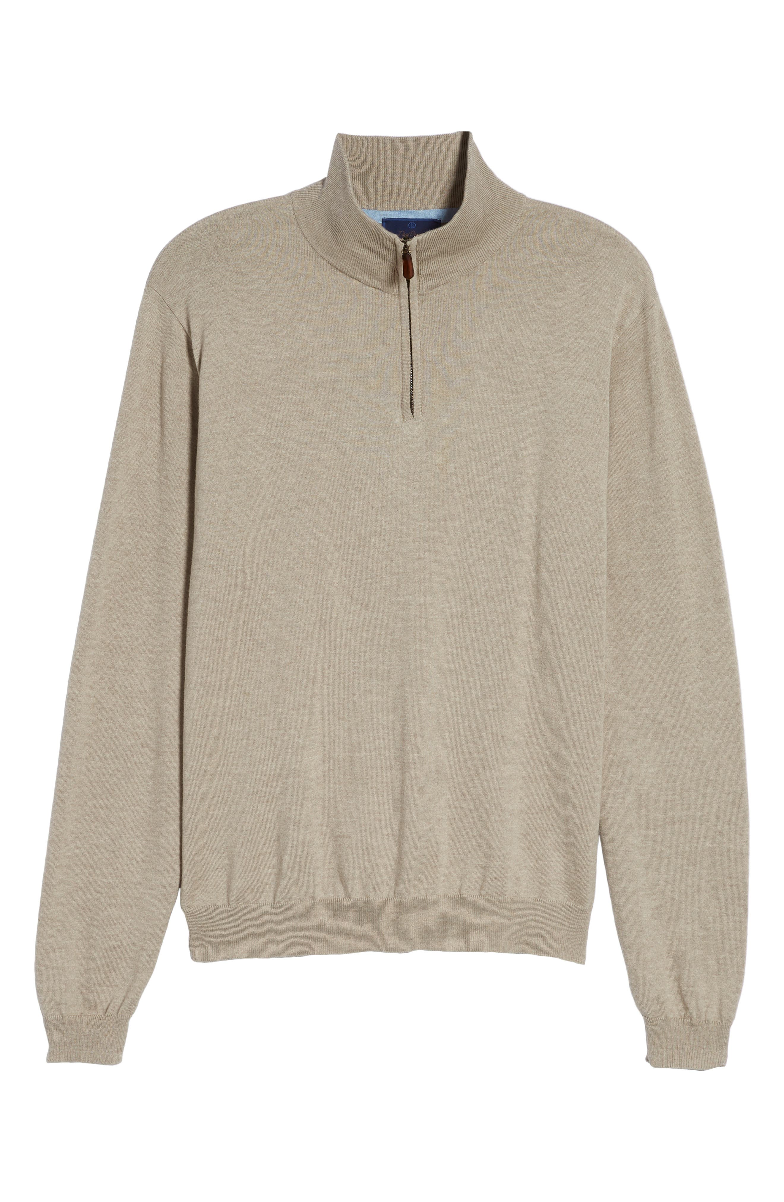 Cotton & Silk Quarter Zip Pullover,                             Alternate thumbnail 6, color,                             292