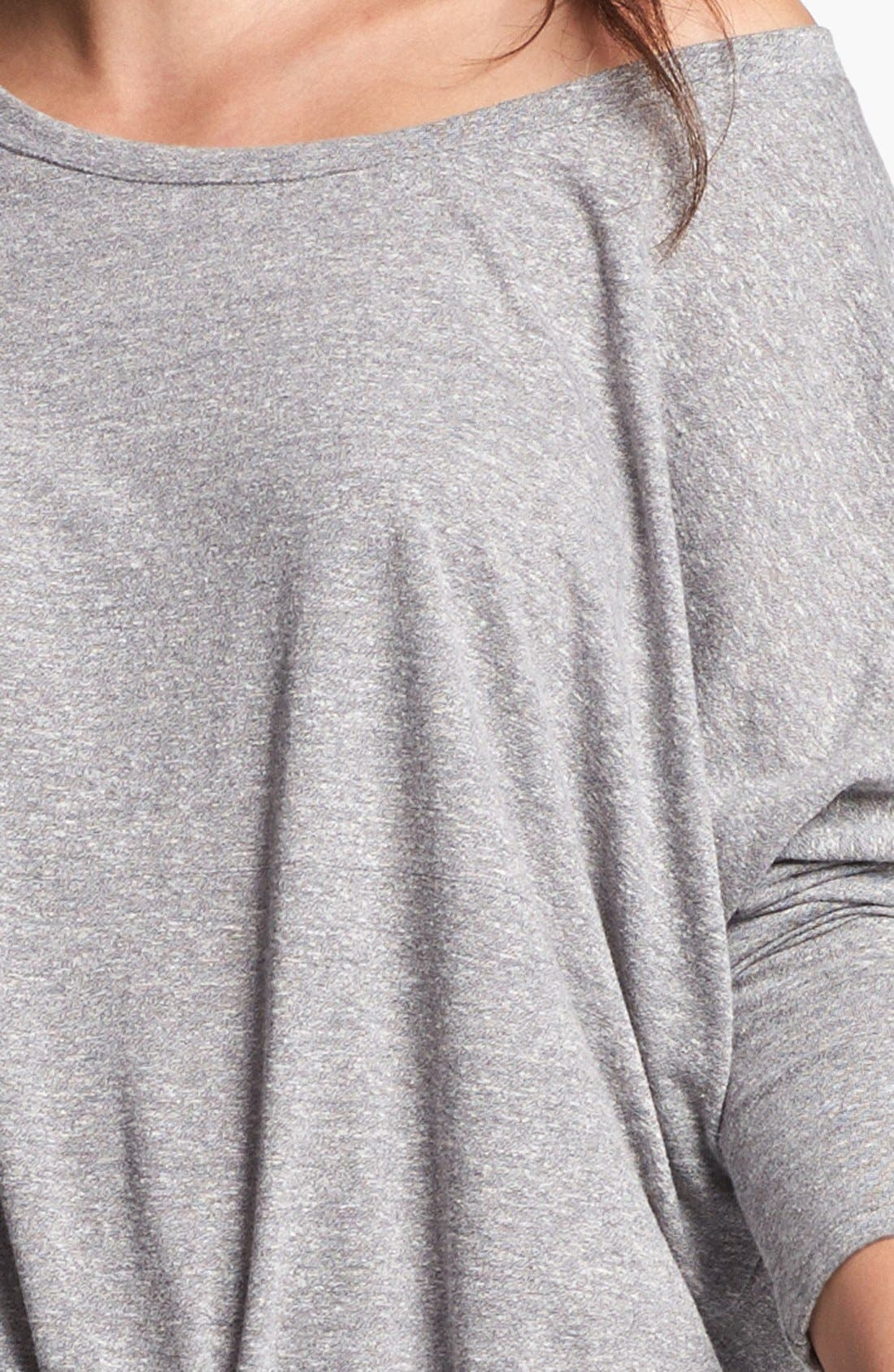 Heather Knit Slouchy Tee,                             Alternate thumbnail 3, color,                             GREY HEATHER