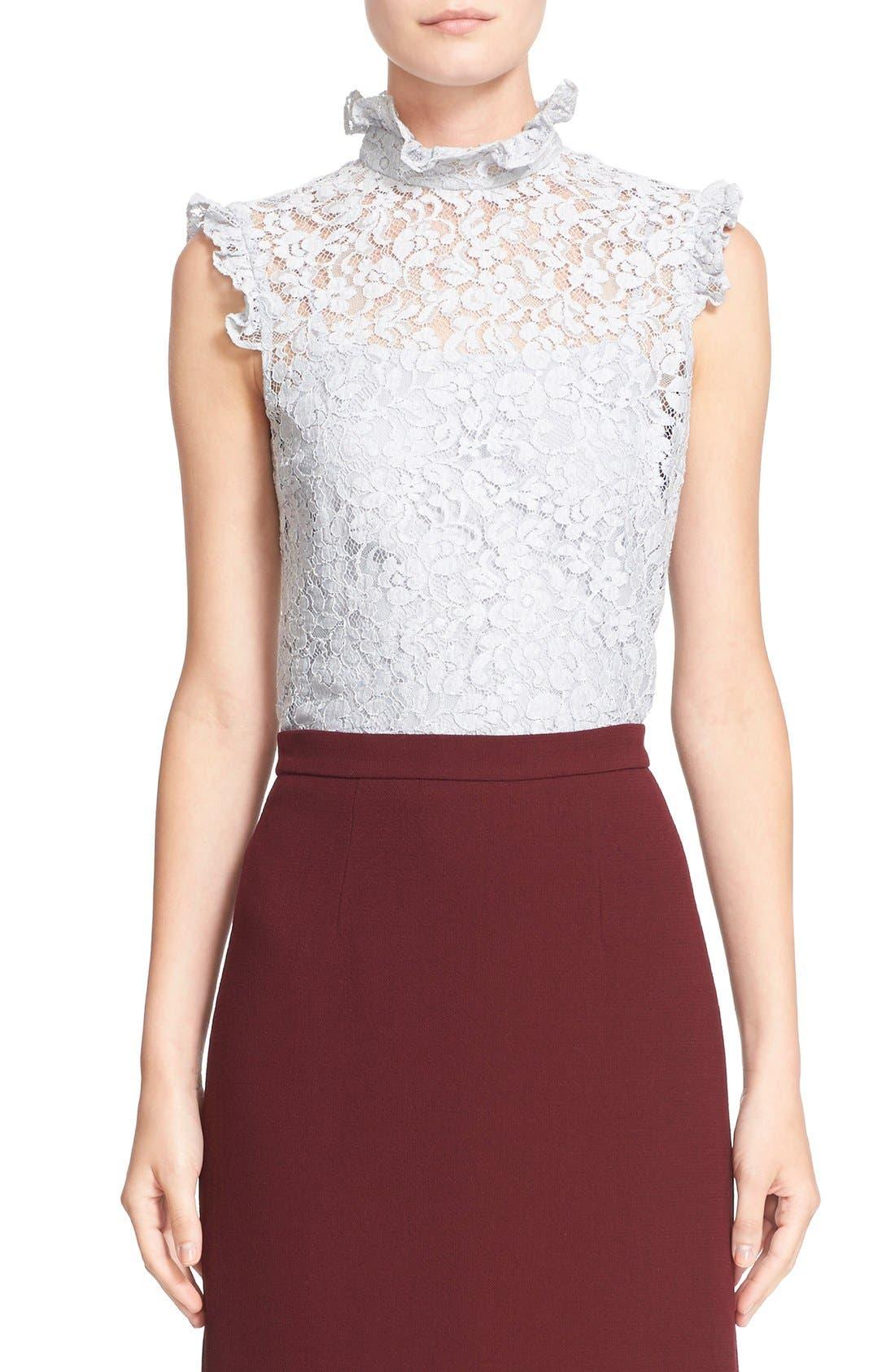 'Mika' Floral Lace High Collar Blouse,                             Main thumbnail 1, color,                             450