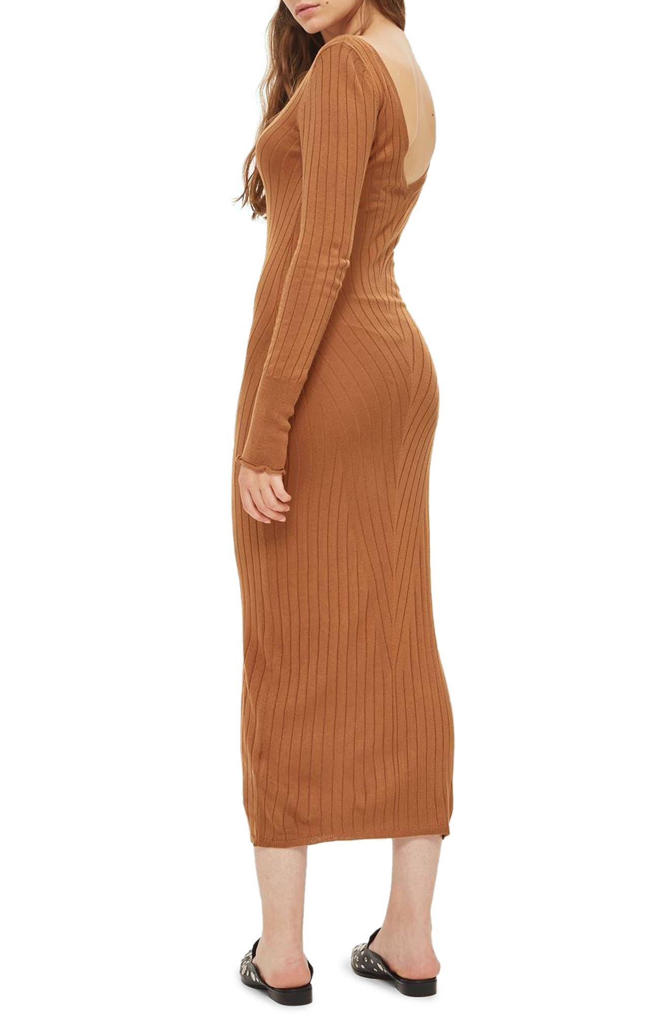 Double V-Neck Ribbed Midi Dress,                             Alternate thumbnail 3, color,                             252