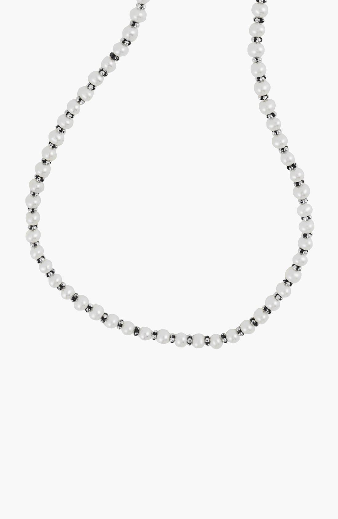 'Luna' Pearl Necklace,                             Alternate thumbnail 6, color,                             SILVER/ PEARL
