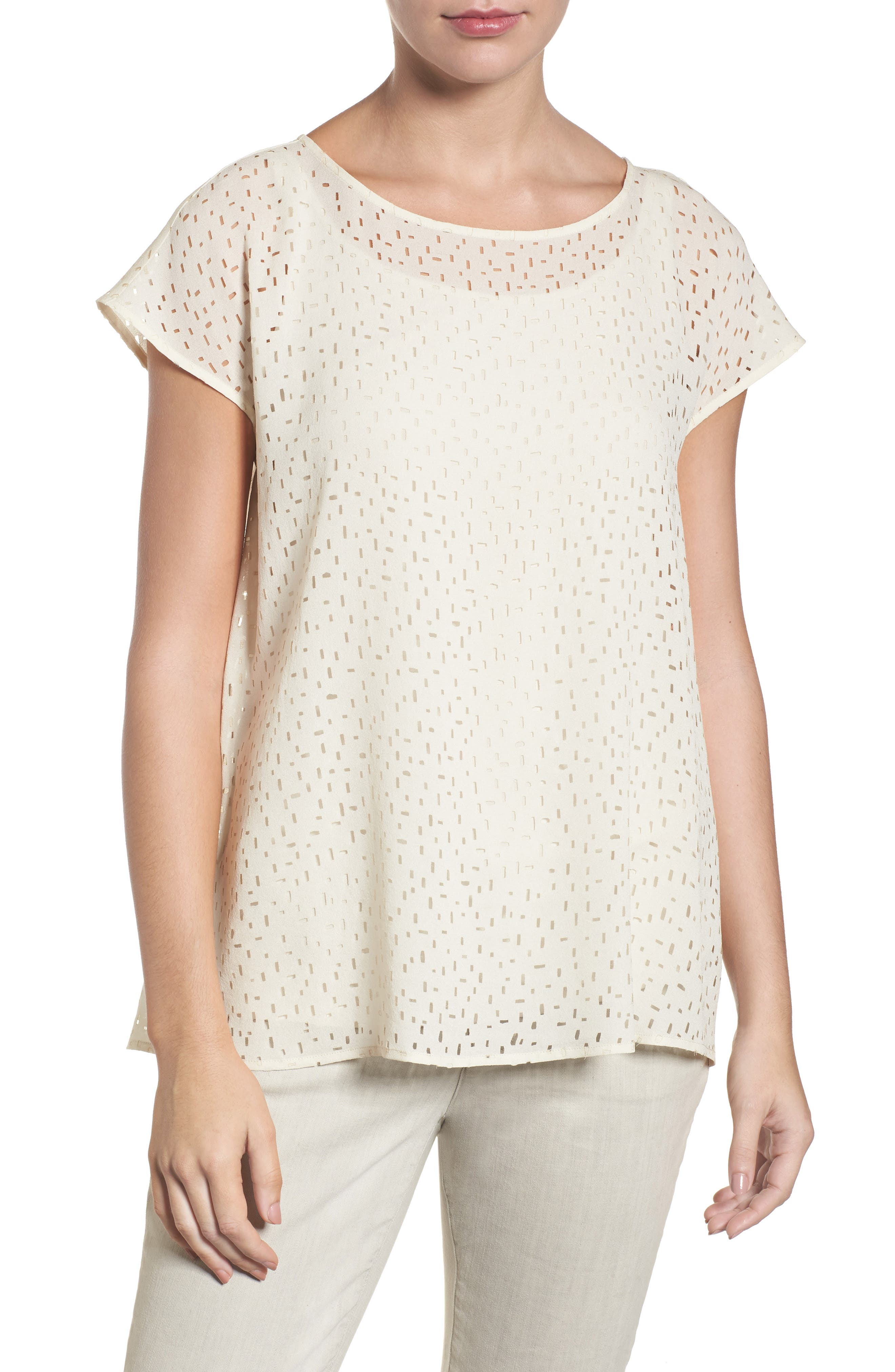 Cutwork Silk Top,                             Main thumbnail 2, color,