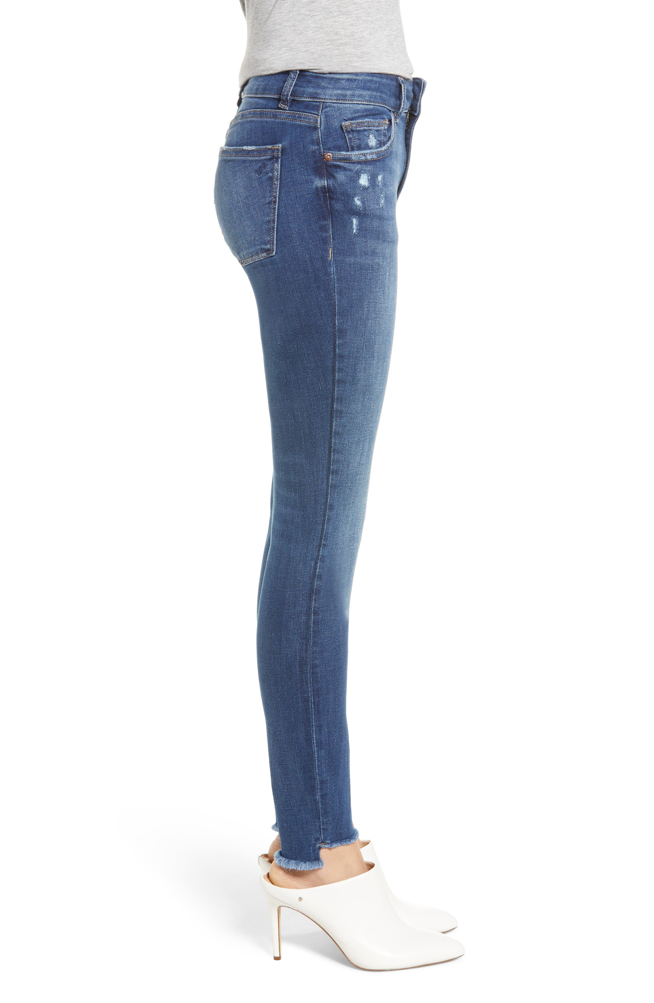 Florence Instasculpt High Waist Raw Step Hem Skinny Jeans,                             Alternate thumbnail 3, color,                             405