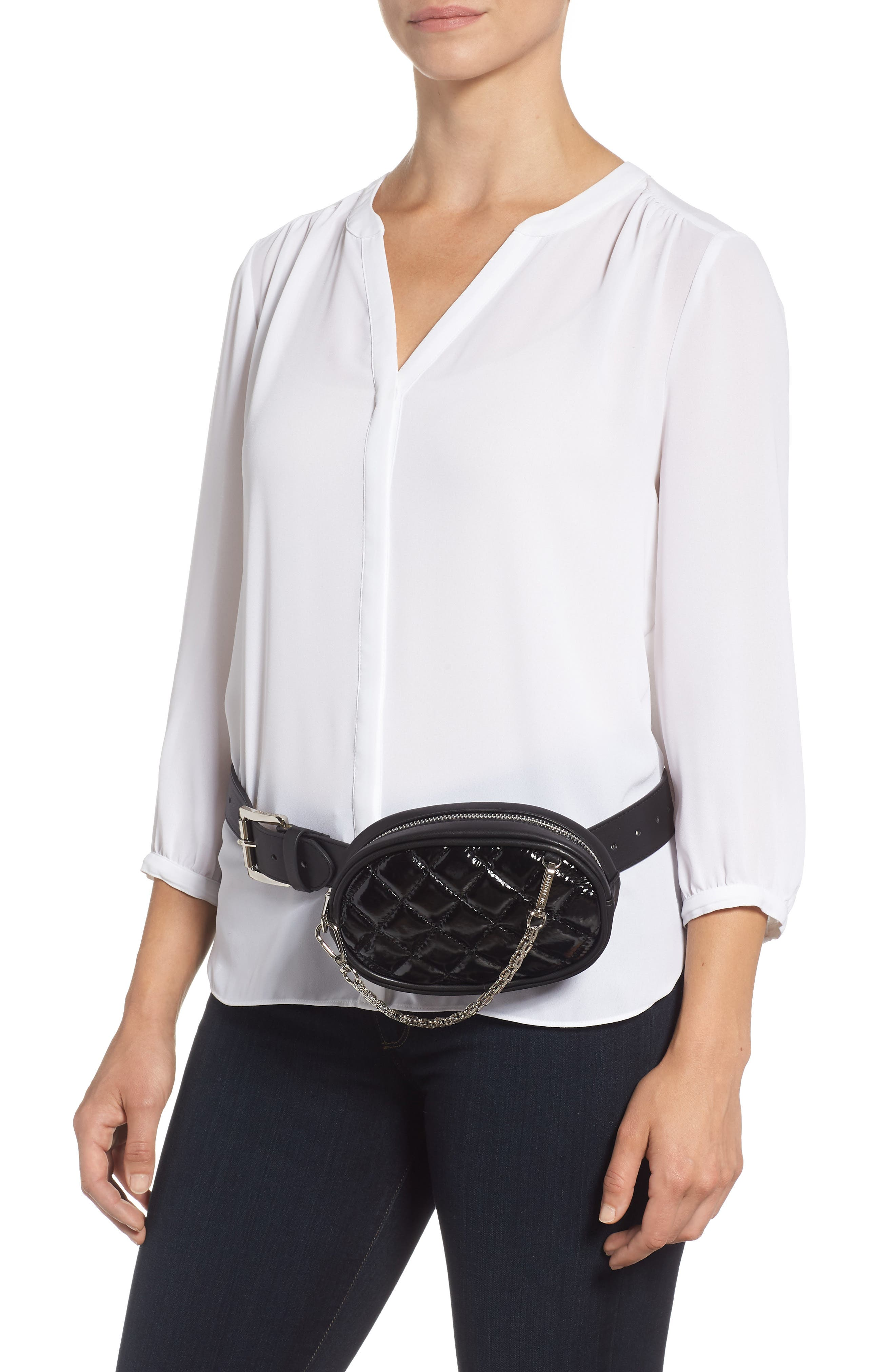 Quilted Faux Leather Belt Bag,                             Alternate thumbnail 2, color,                             001
