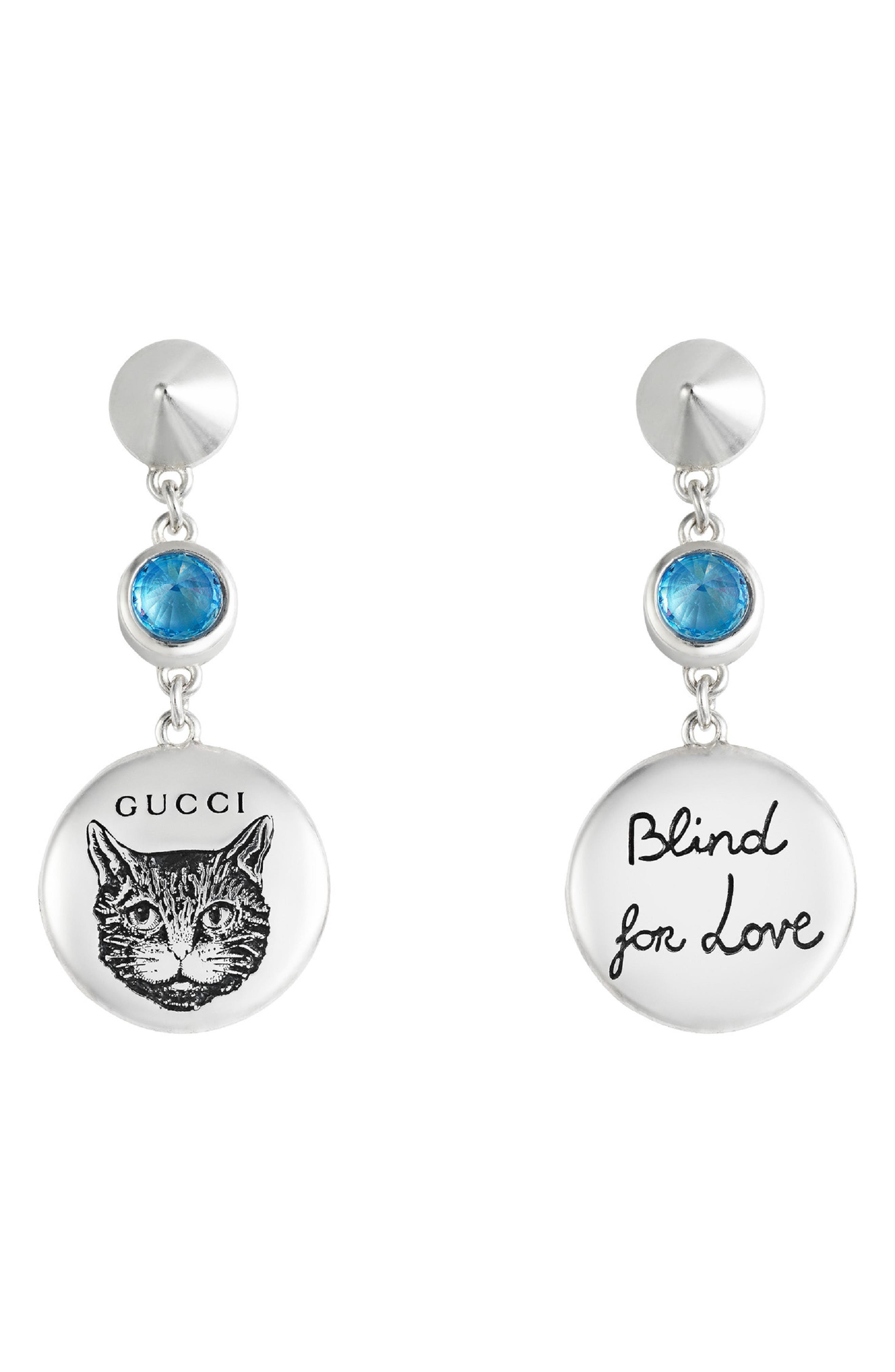 GG Blind for Love Mismatch Drop Earrings,                             Main thumbnail 1, color,                             STERLING SILVER/ BLUE ZIRCONIA