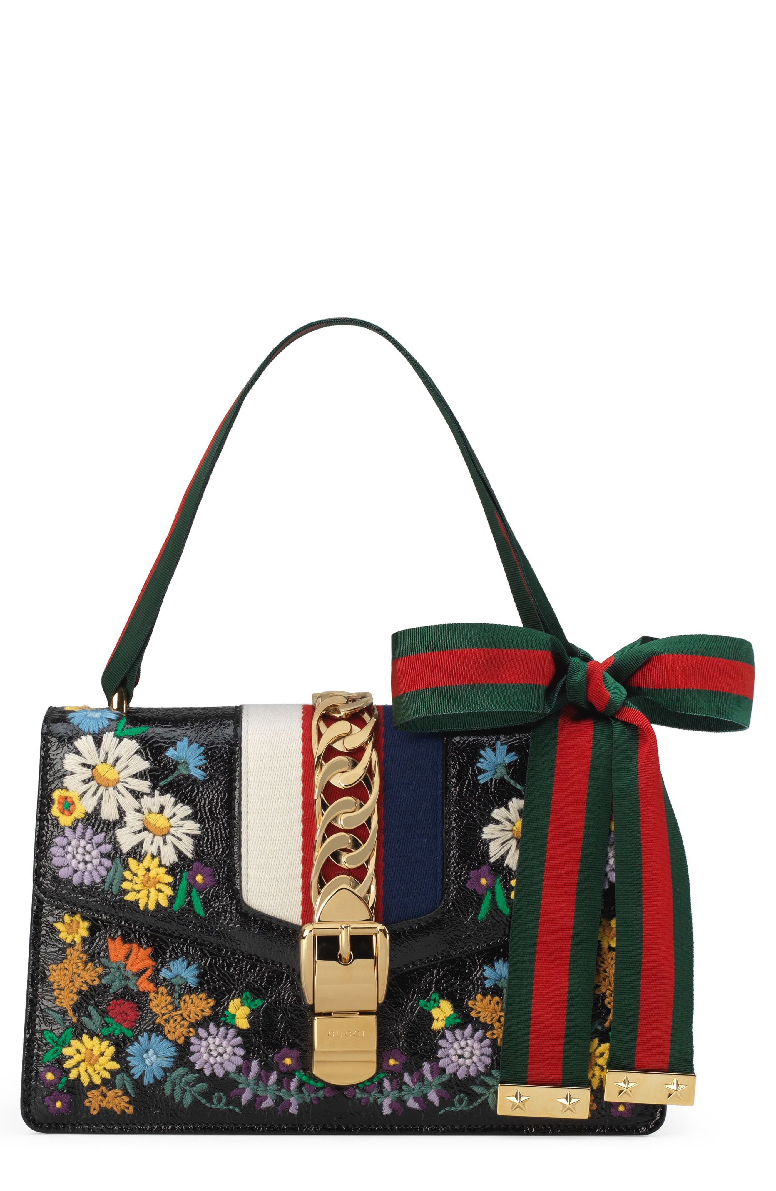 Small Sylvie Floral Embroidered Leather Top Handle Shoulder Bag,                         Main,                         color, NERO MULTI