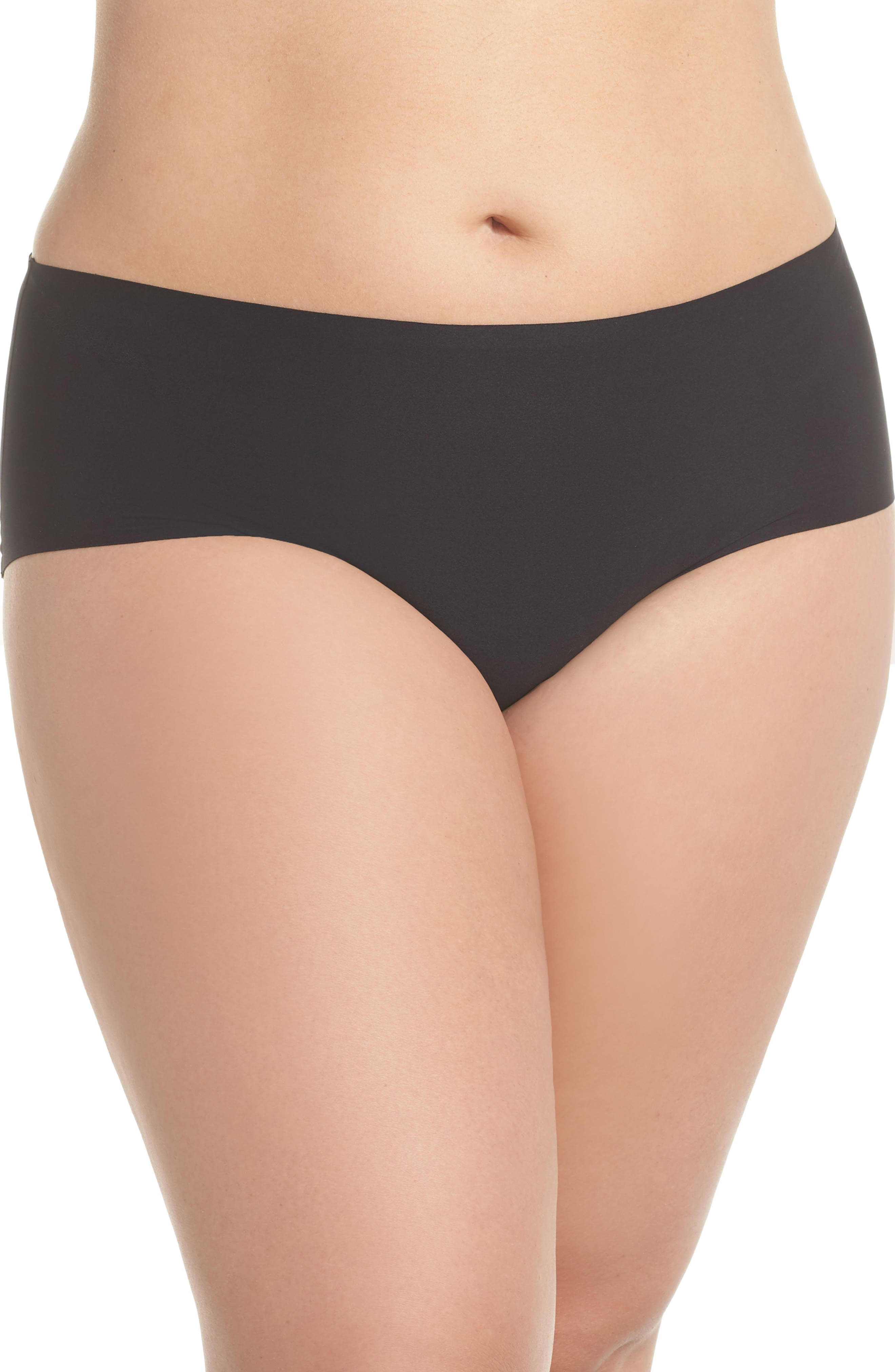 Soft Stretch Seamless Hipster Panties,                             Main thumbnail 1, color,                             BLACK