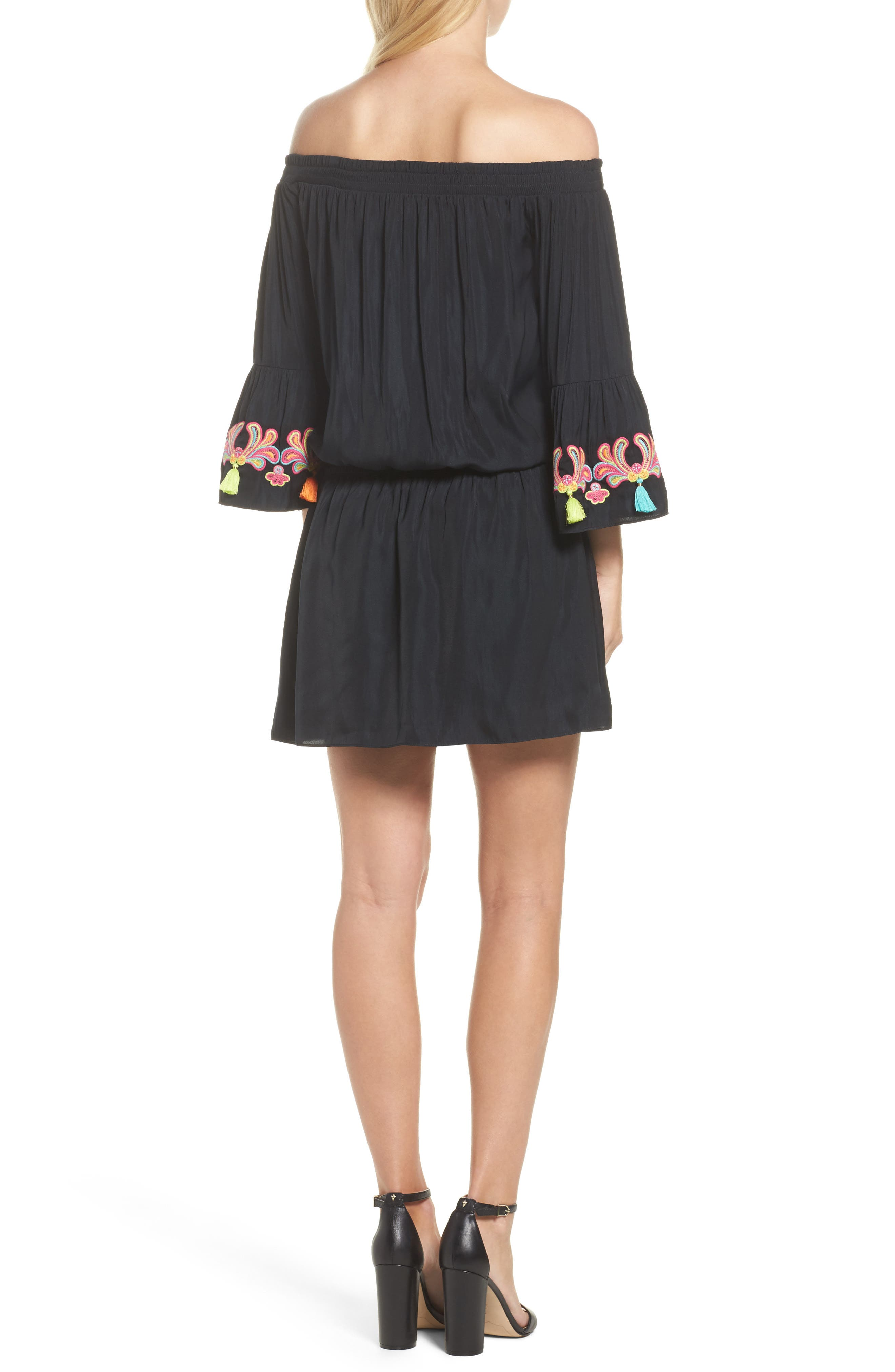 Polly Off the Shoulder Dress,                             Alternate thumbnail 2, color,                             002