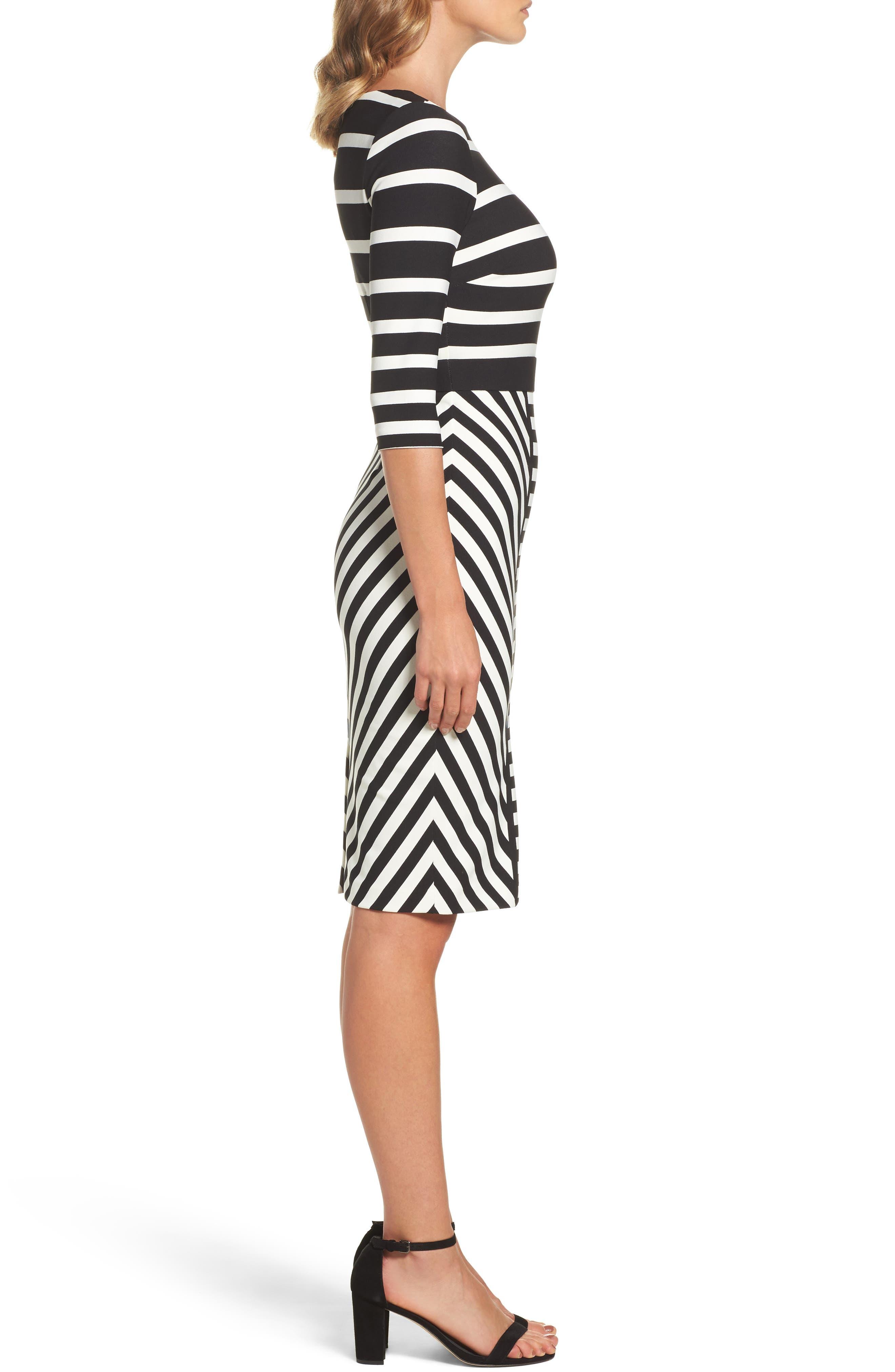 Stripe Sheath Dress,                             Alternate thumbnail 3, color,                             001