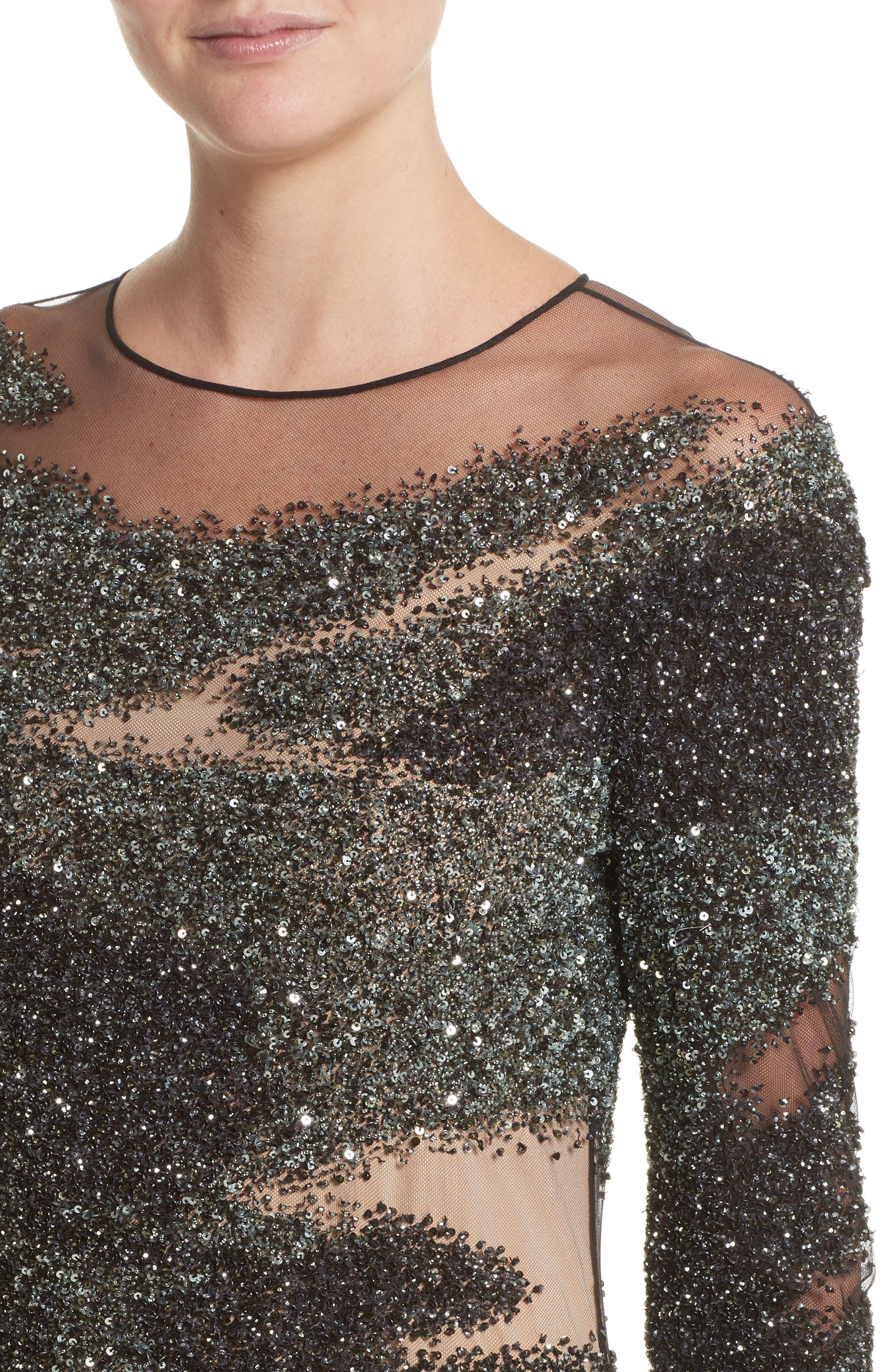 Brushstroke Sequin Long Sleeve Gown,                             Alternate thumbnail 4, color,                             349
