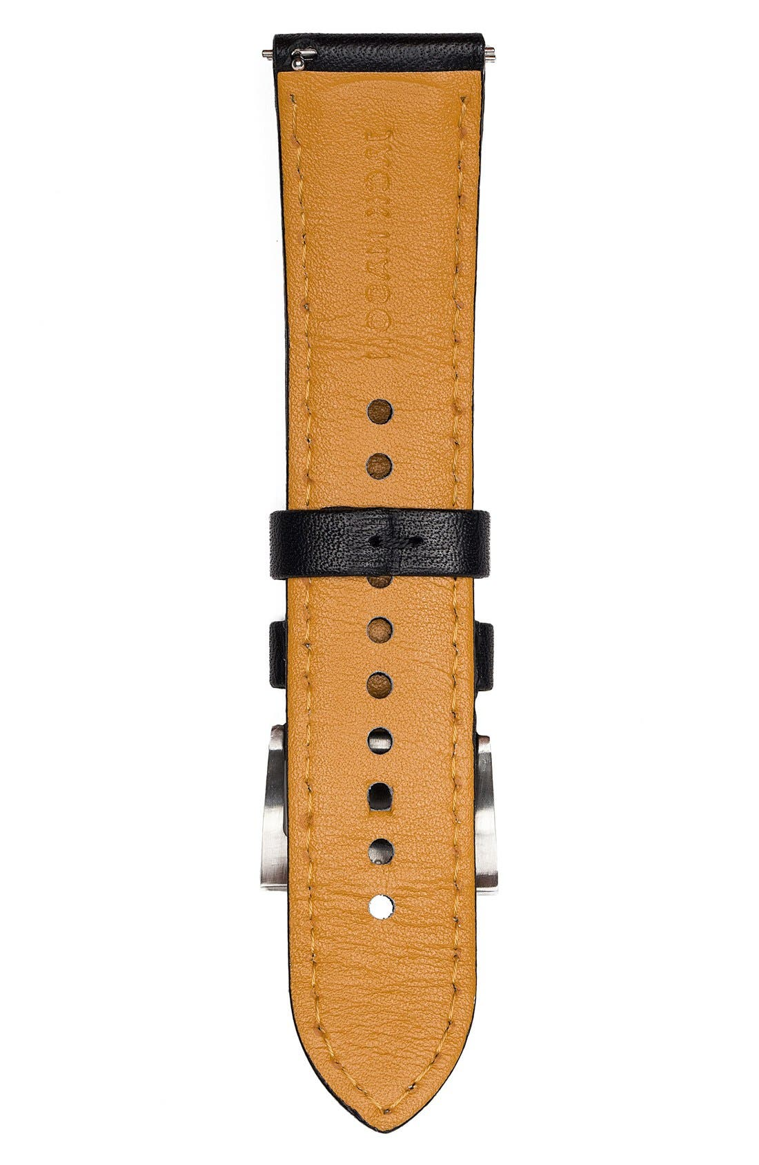 Leather Strap, 22mm,                             Alternate thumbnail 2, color,                             BLACK