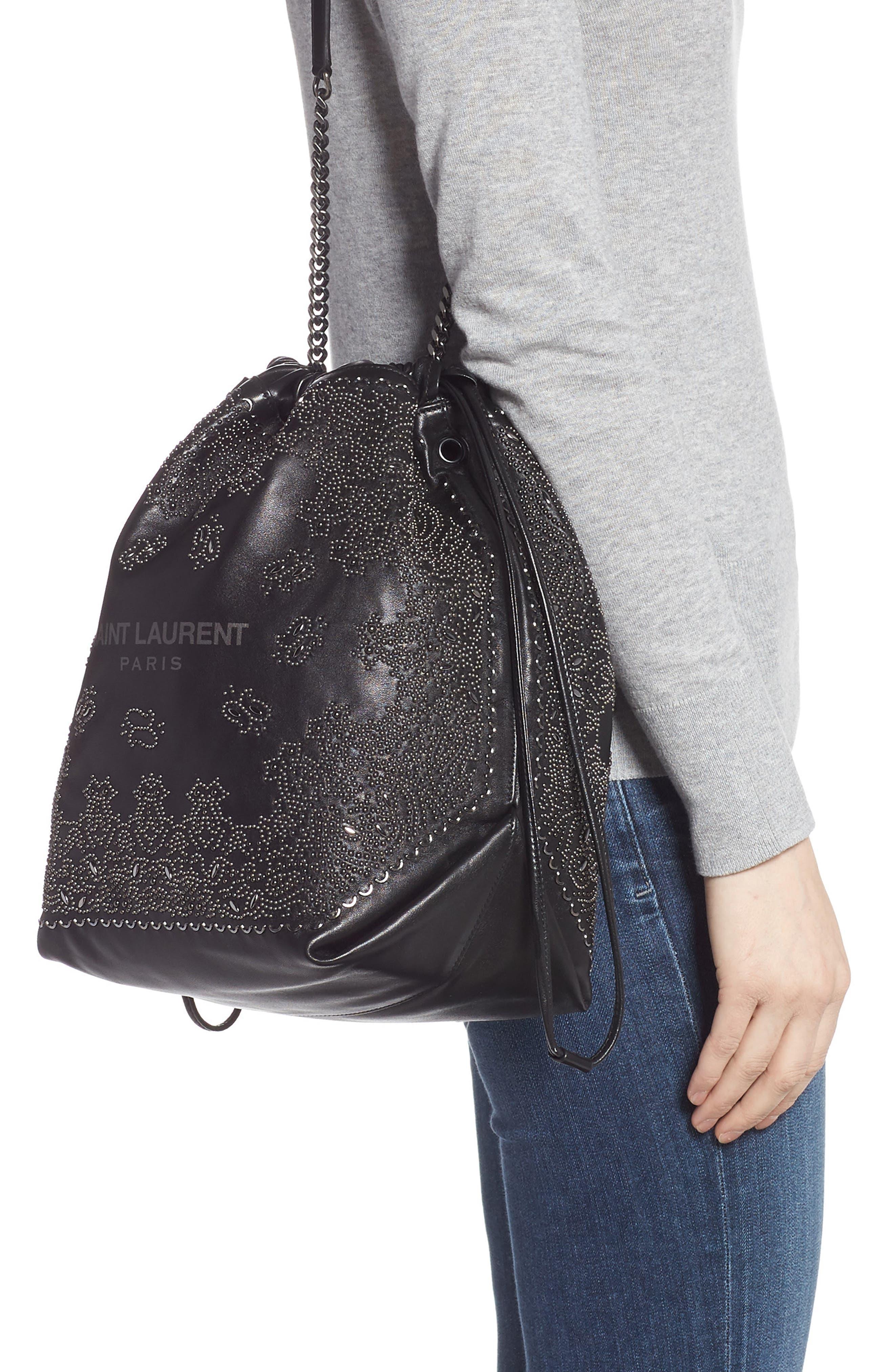 Teddy Bandana Studded Leather Bucket Bag,                             Alternate thumbnail 2, color,                             NOIR