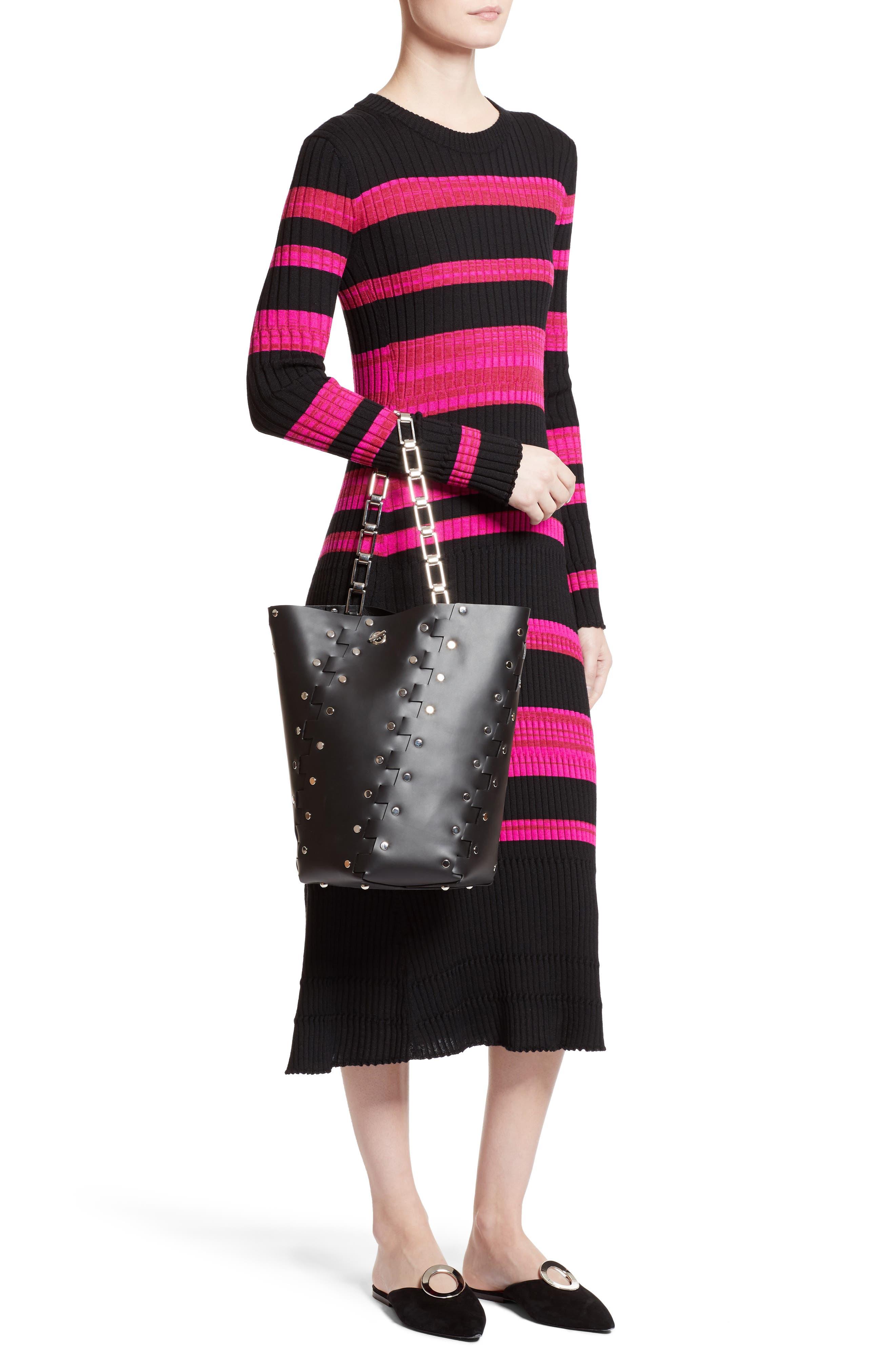 Medium Hex Studded Leather Bucket Bag,                             Alternate thumbnail 2, color,                             001