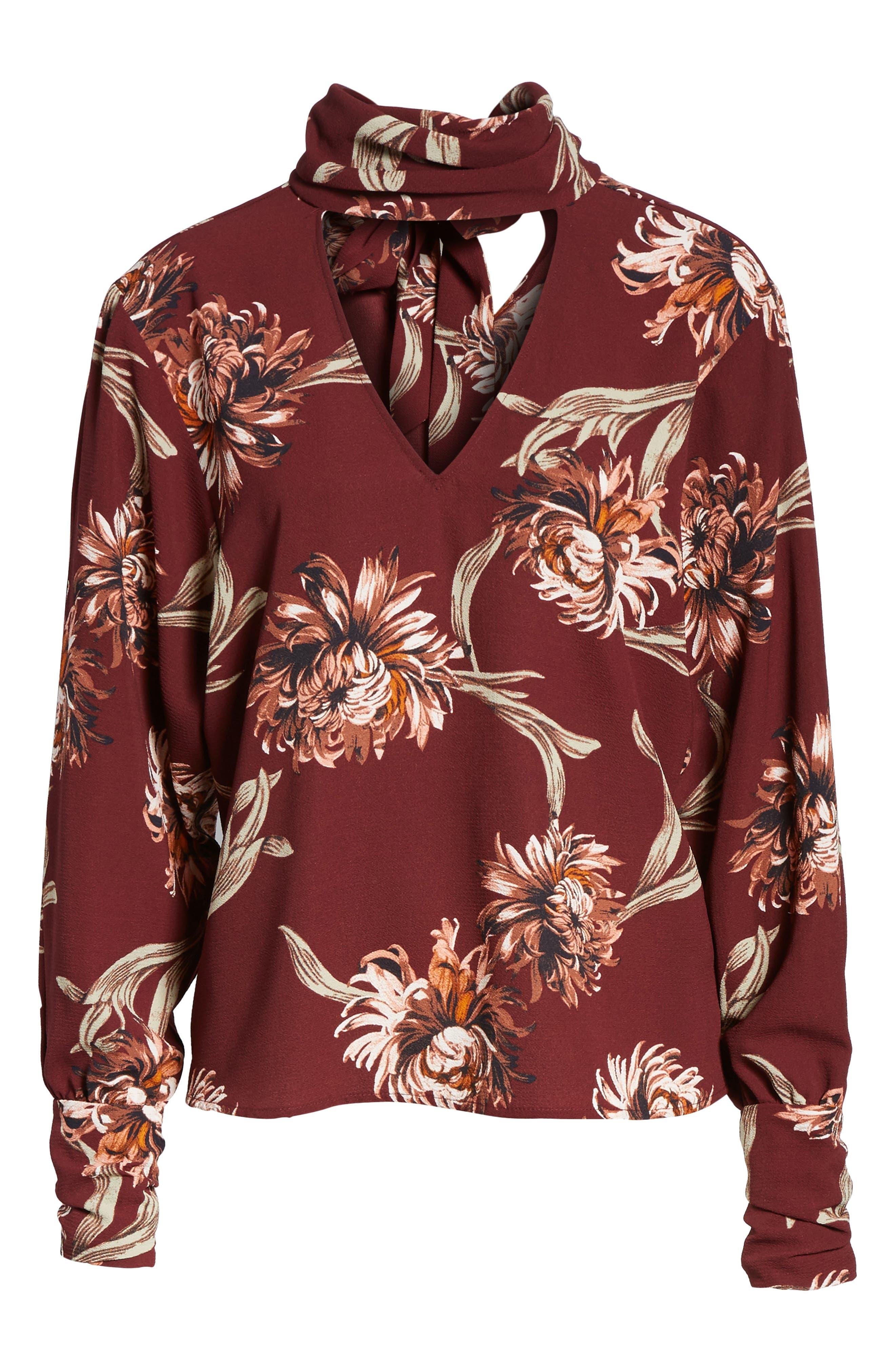 Floral Choker Blouse,                             Alternate thumbnail 6, color,                             601