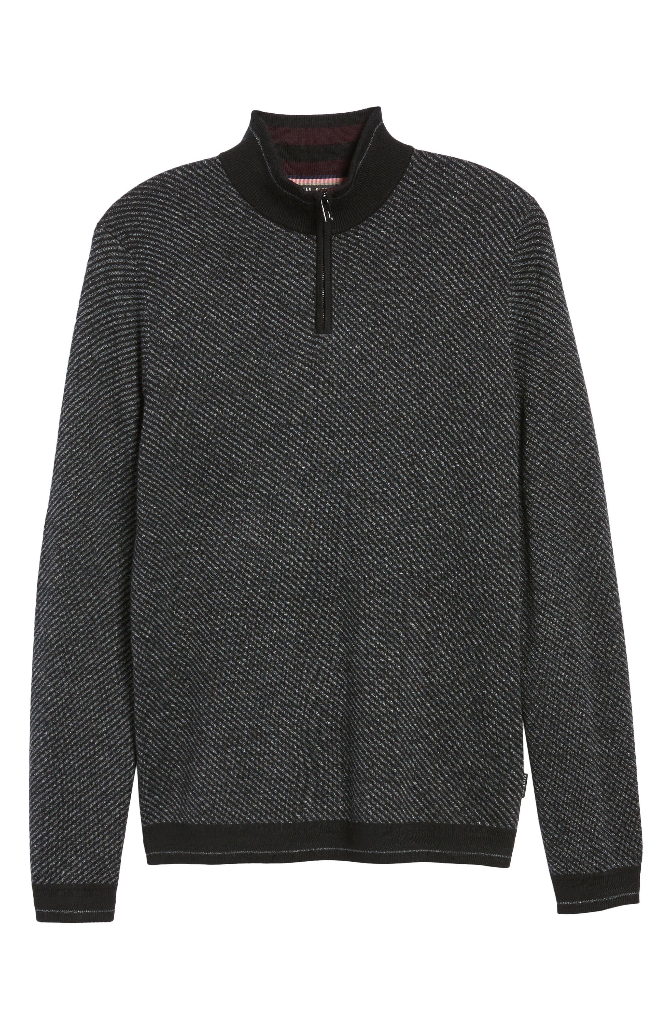 Stripe Quarter Zip Sweater,                             Alternate thumbnail 6, color,                             001