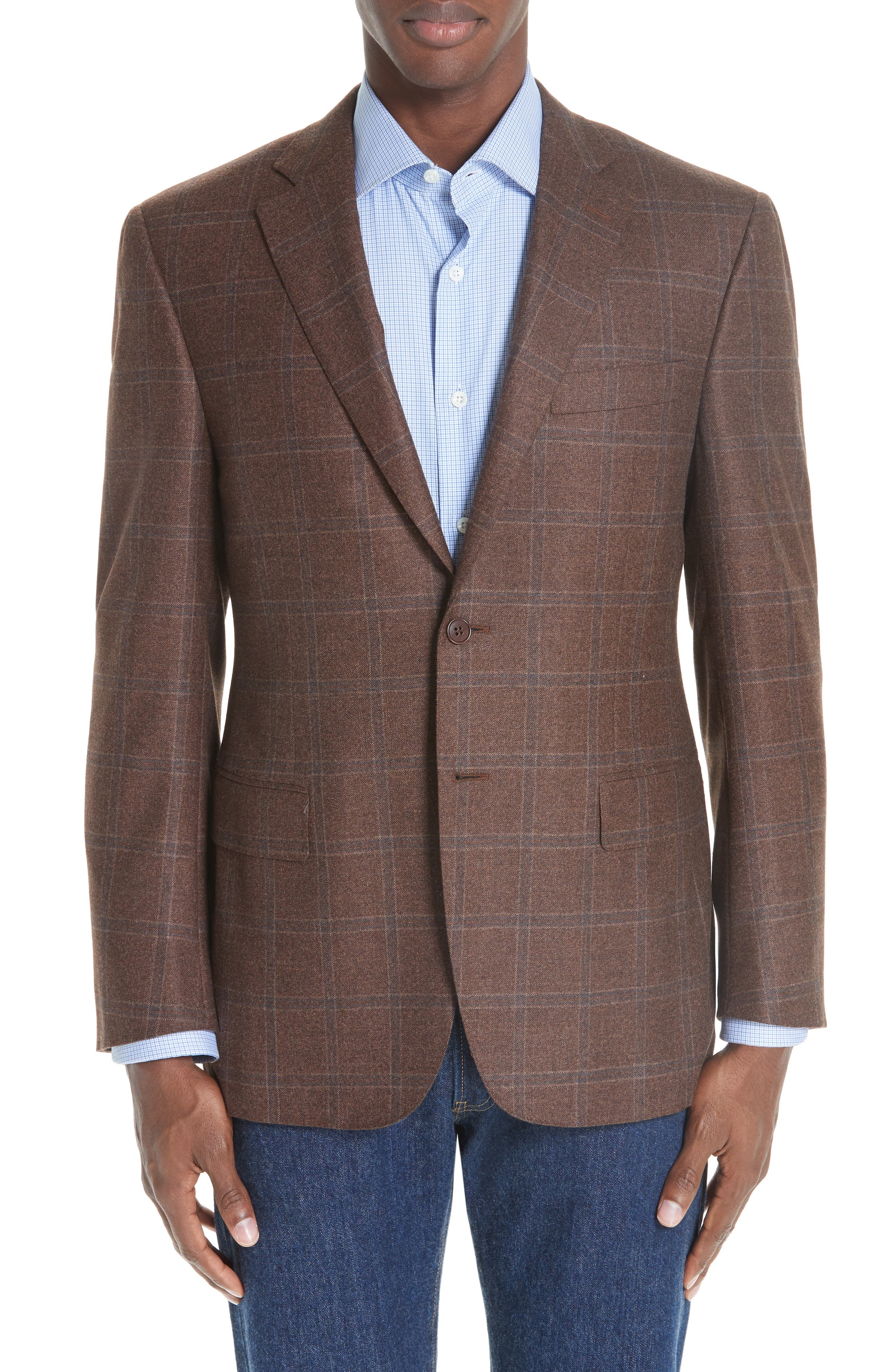 Classic Fit Windowpane Wool Sport Coat,                         Main,                         color, MED BROWN