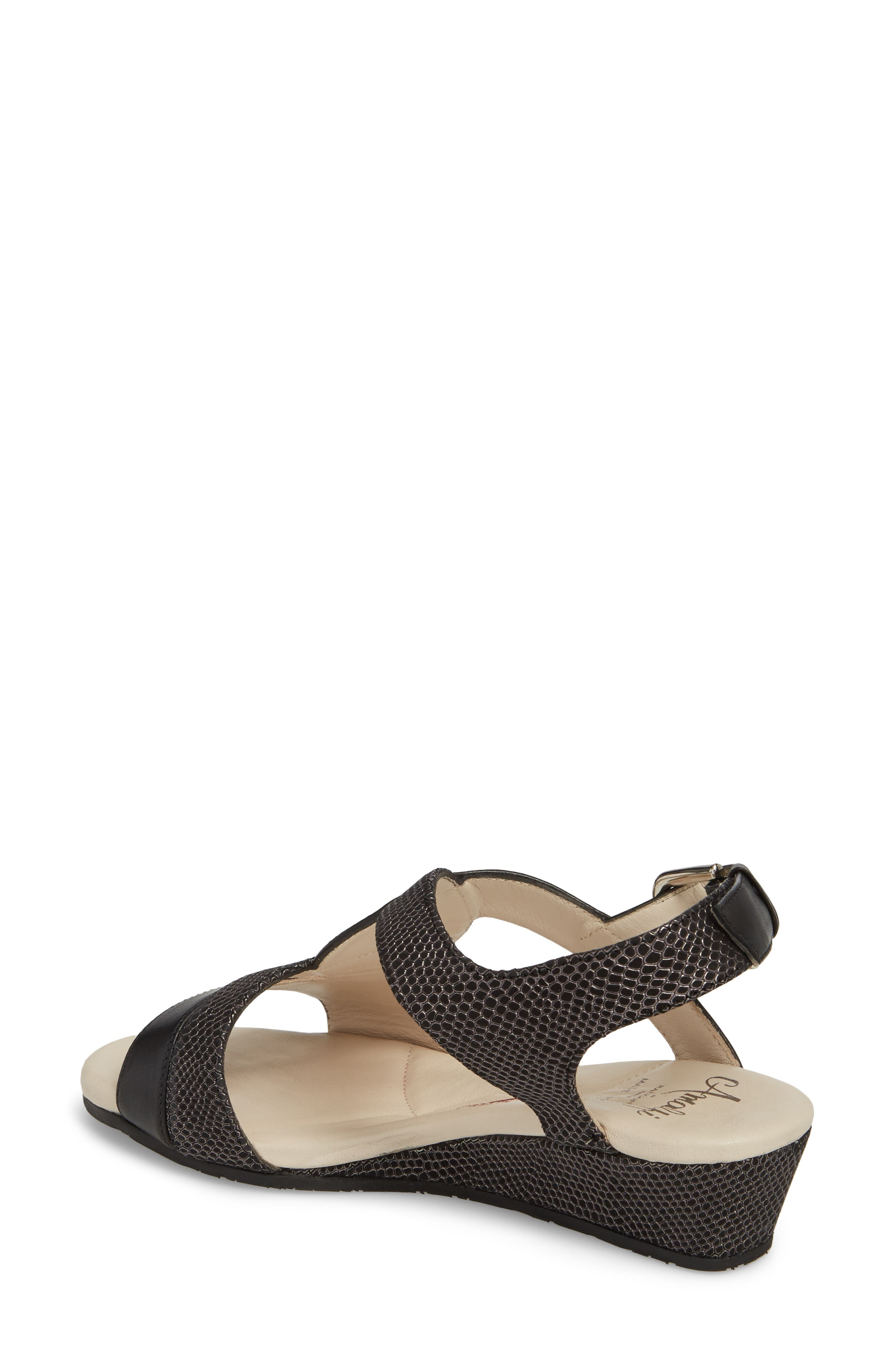 Morosa Wedge Sandal,                             Alternate thumbnail 2, color,                             GRAPHITE LEATHER