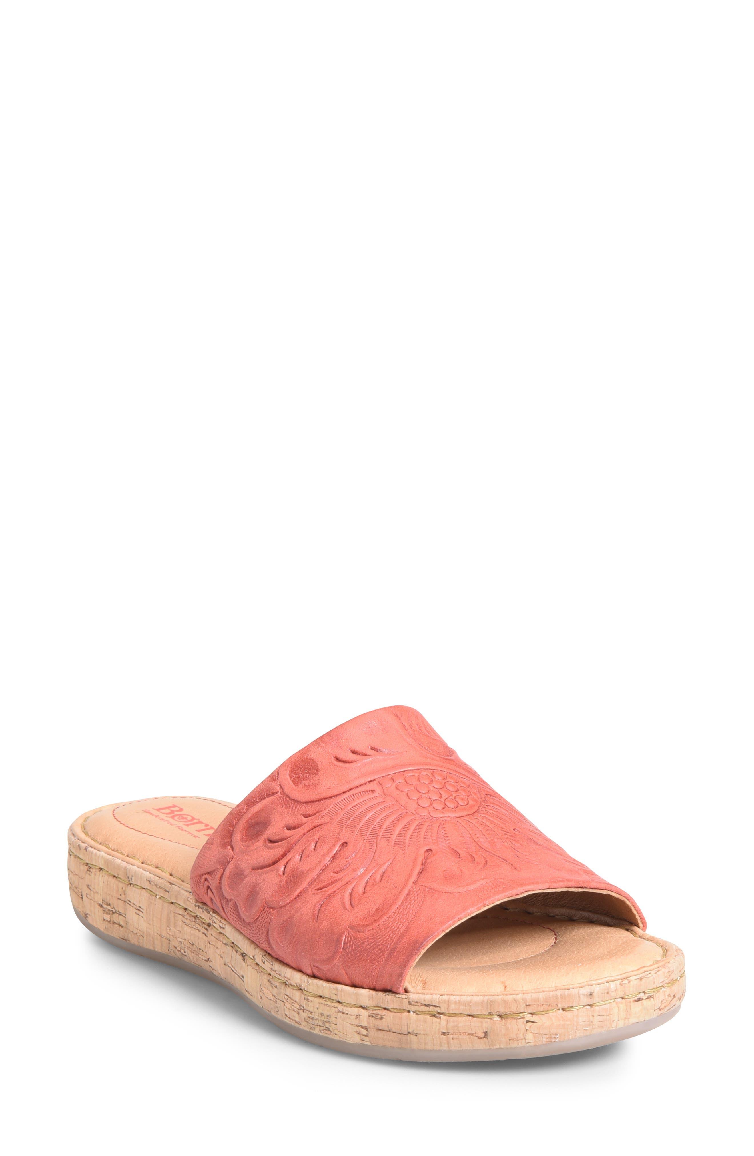 B?rn Fish Lake Tooled Slide Sandal, Red
