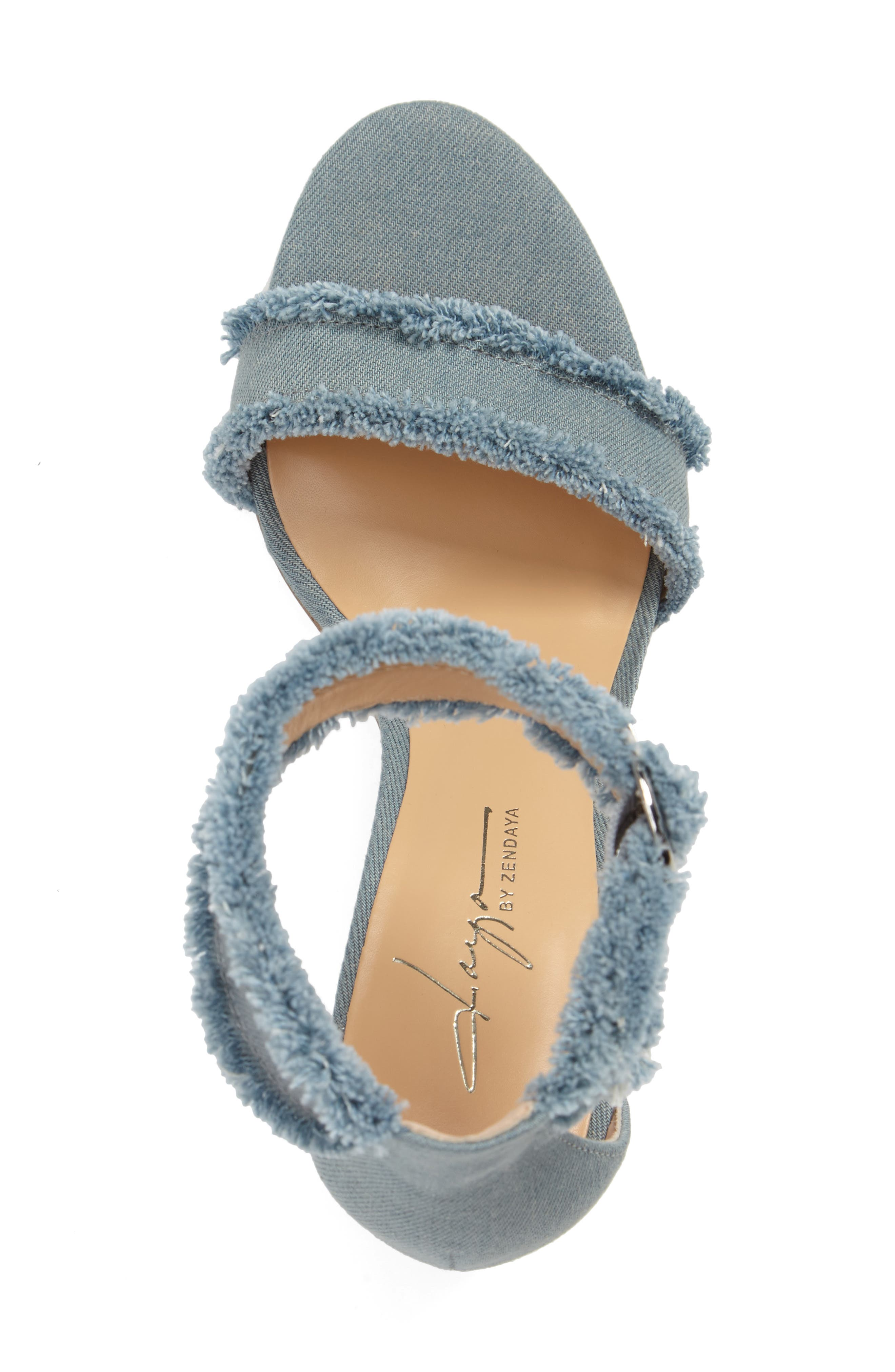 by Zendaya Shasta Fringe Denim Ankle Strap Sandal,                             Alternate thumbnail 9, color,