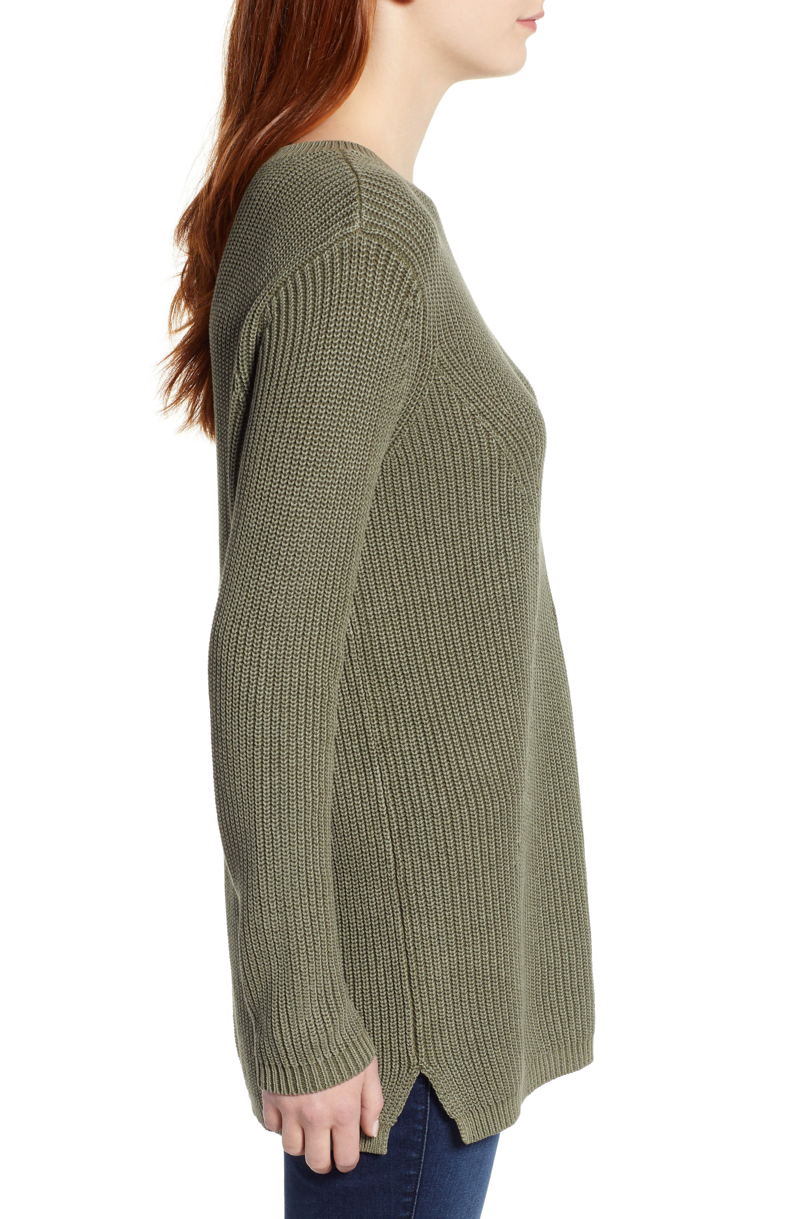 Tie Back Tunic Sweater,                             Alternate thumbnail 3, color,                             301