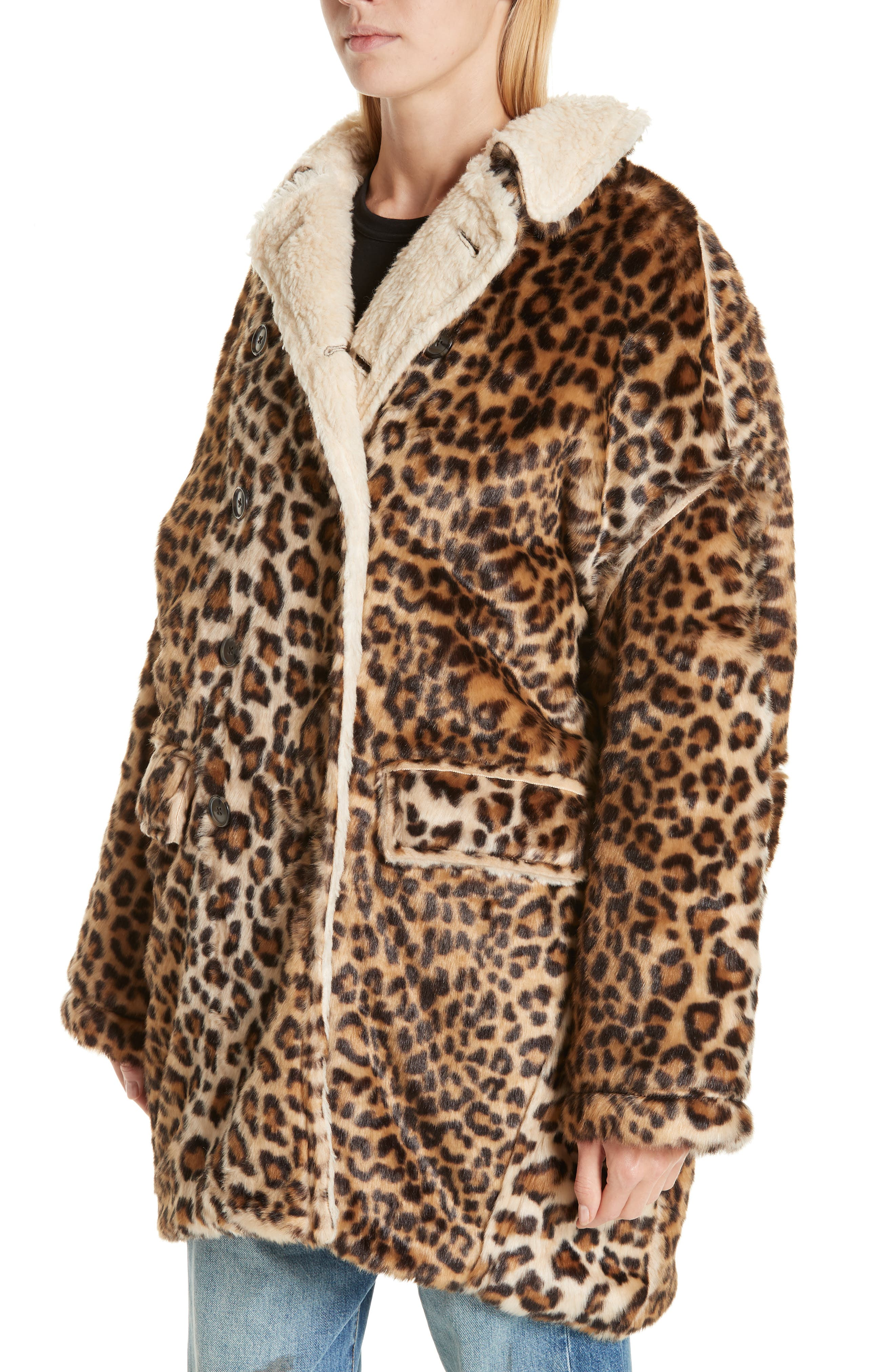 R13,                             Oversize Faux Leopard Hunting Coat,                             Alternate thumbnail 4, color,                             242