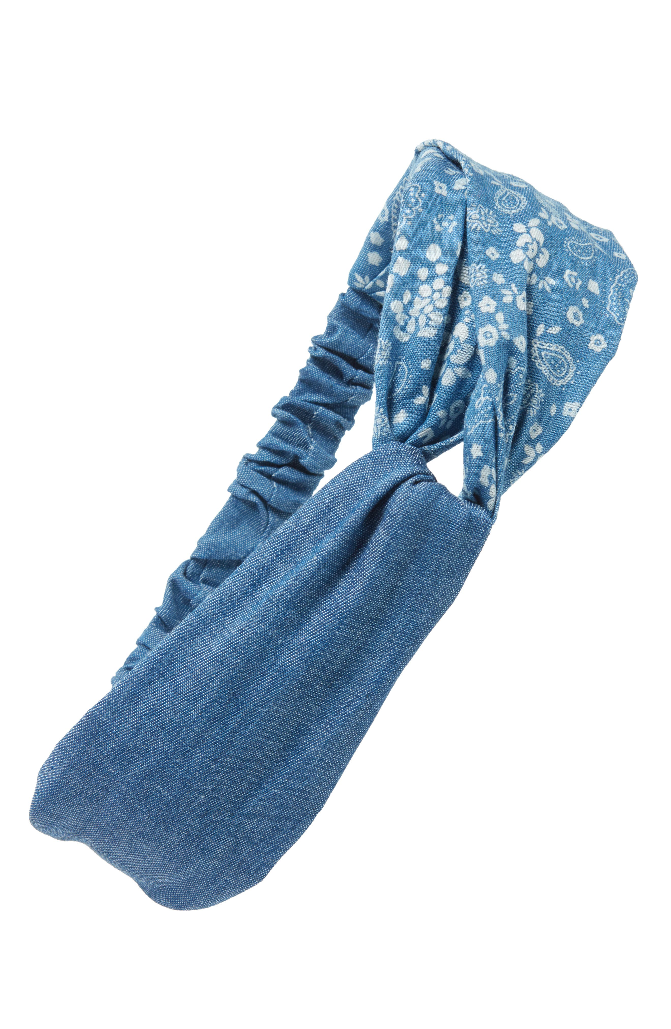 Paisley Denim Head Wrap,                             Main thumbnail 1, color,                             420