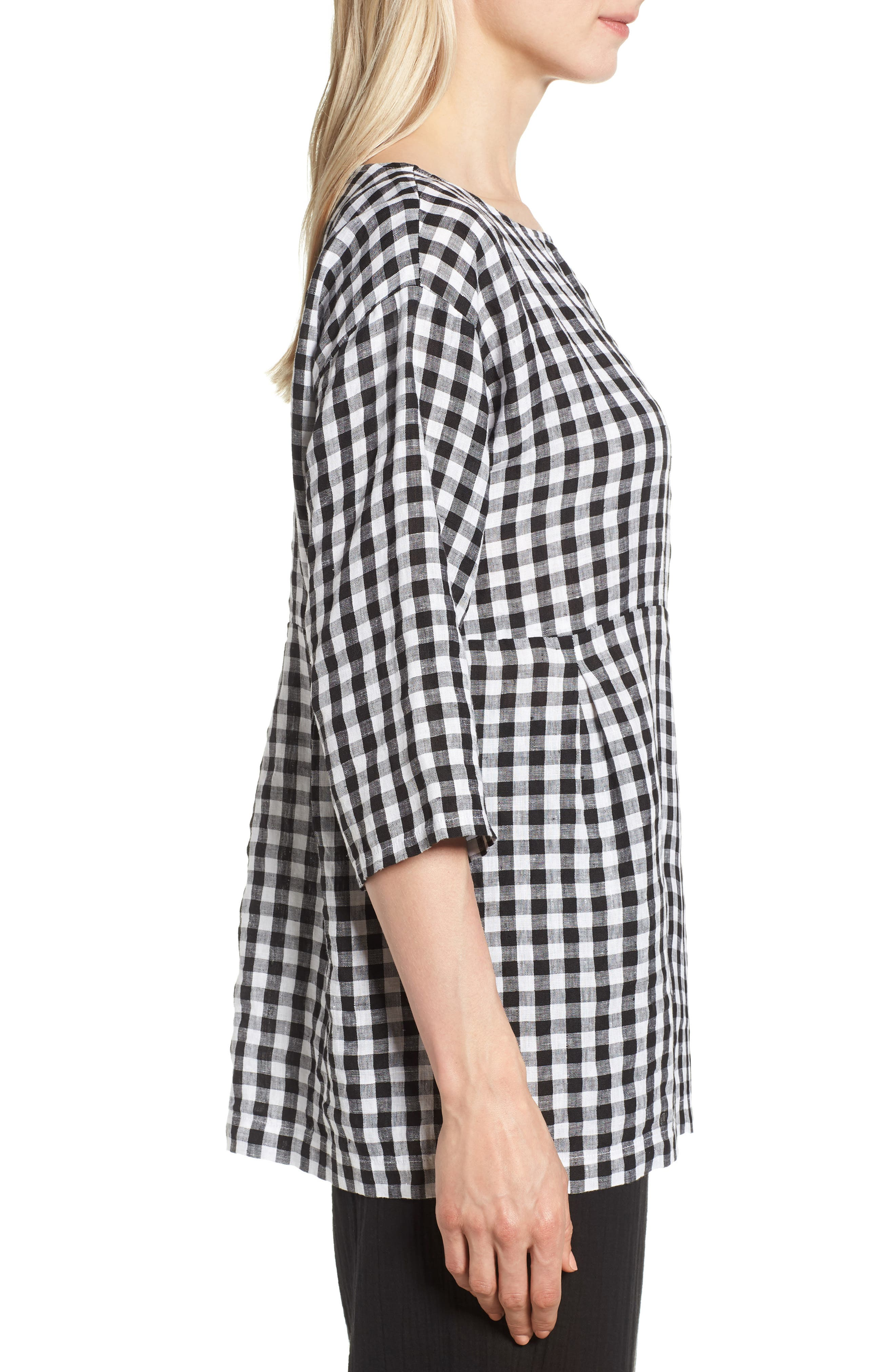 Gingham Organic Linen Top,                             Alternate thumbnail 3, color,                             018