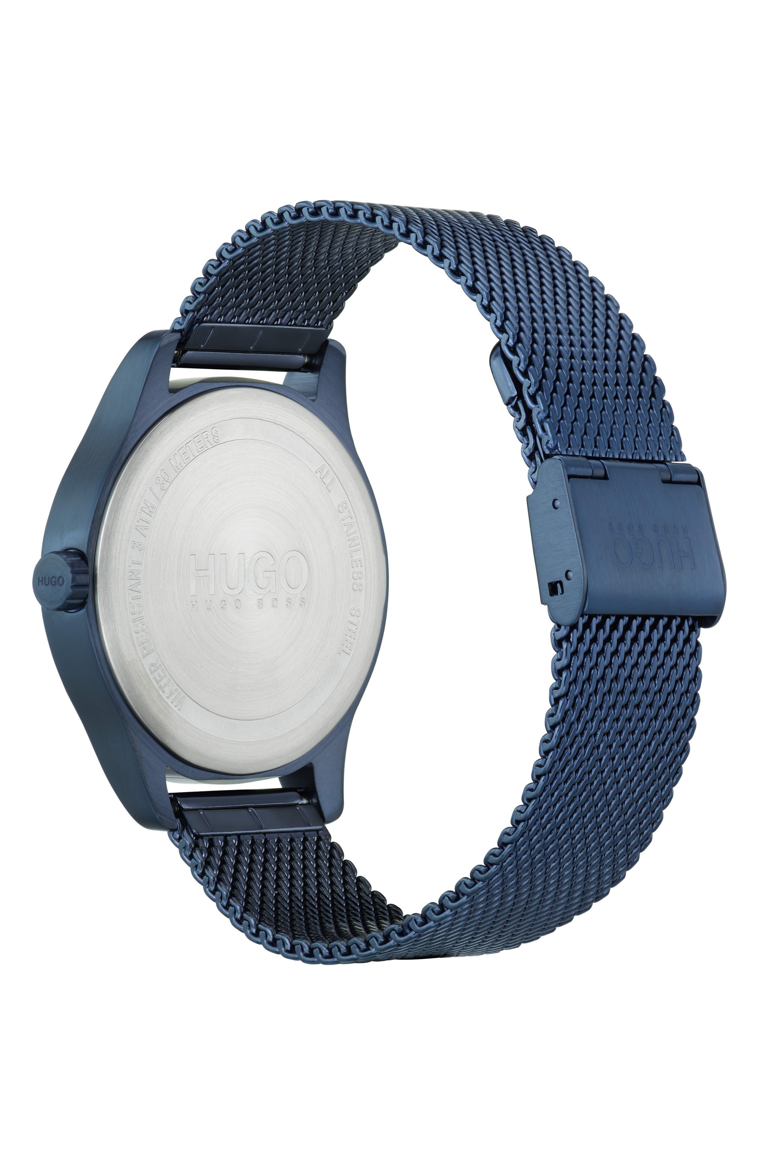 Mesh Bracelet Watch, 42mm,                             Alternate thumbnail 2, color,                             BLUE/SILVER