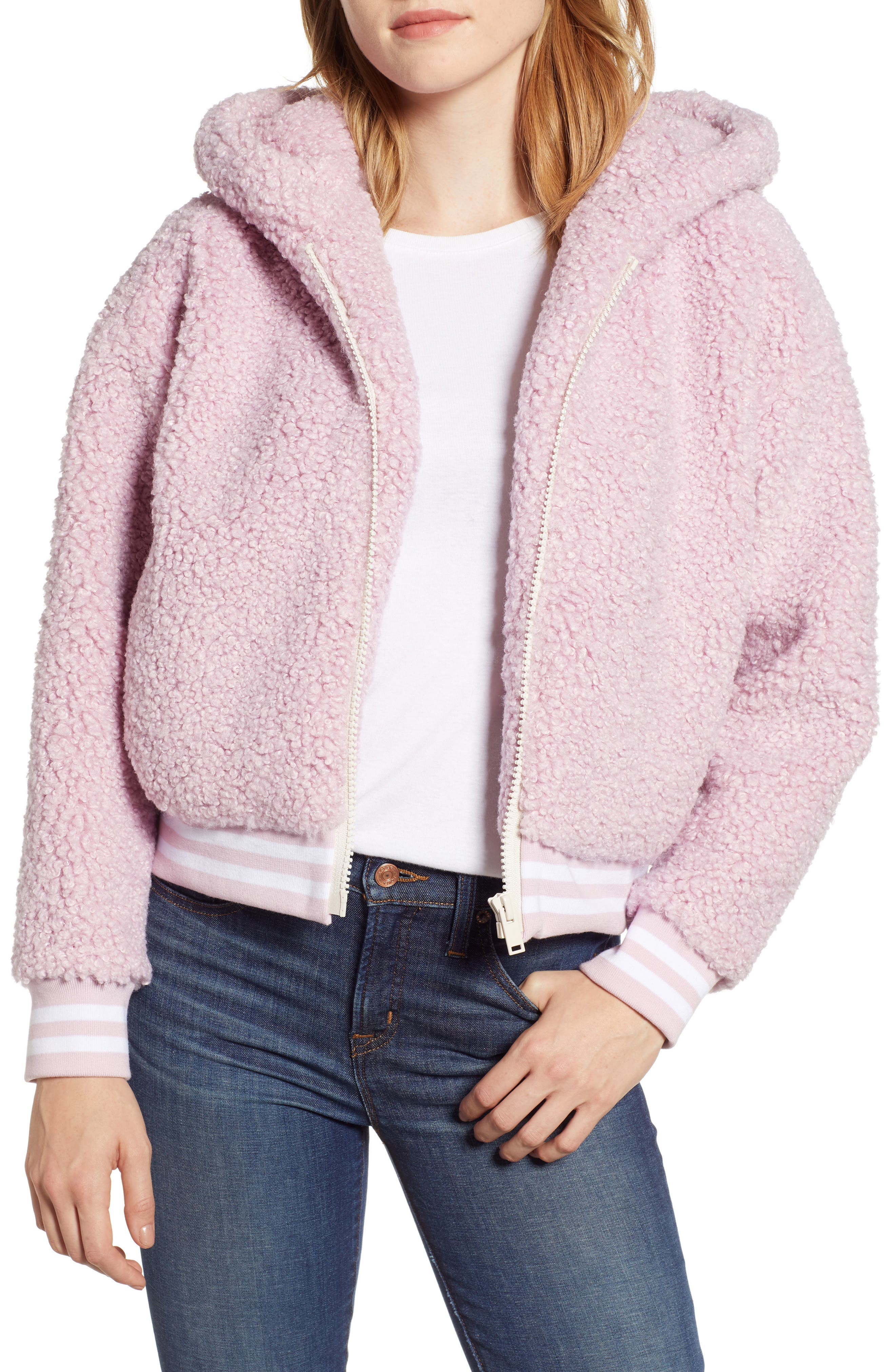Frida Faux Fur Hooded Jacket,                             Main thumbnail 1, color,                             WINSOME ORCHID 3741