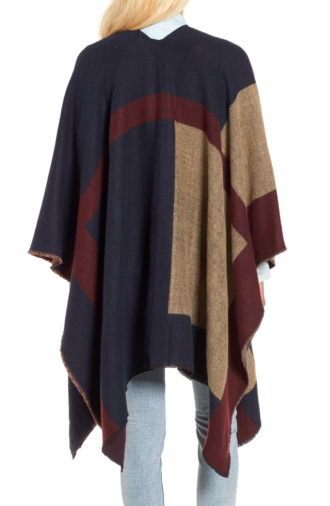 Colorblock Poncho,                             Alternate thumbnail 2, color,                             410