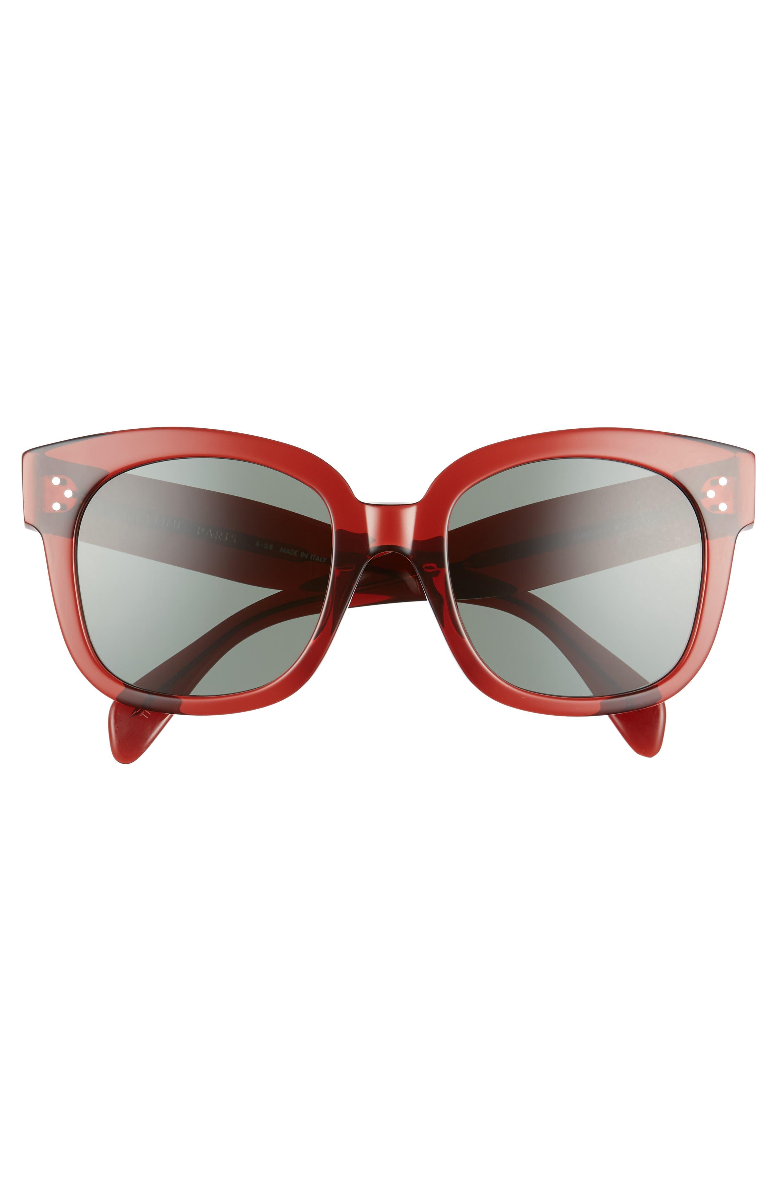 54mm Round Sunglasses,                             Alternate thumbnail 3, color,                             BORDEAUX/ GREEN