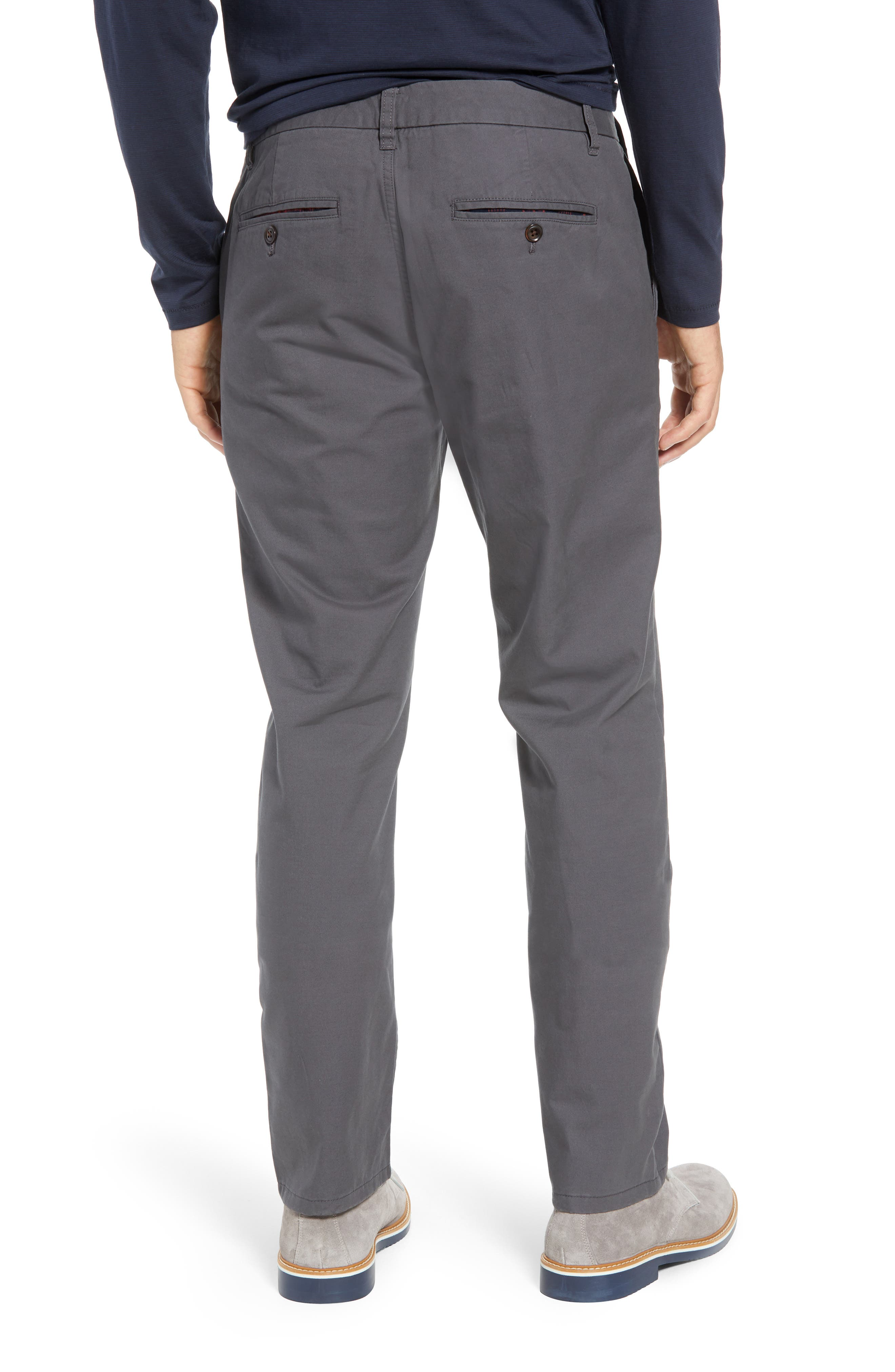 Slim Fit Flannel Lined Chinos,                             Alternate thumbnail 2, color,                             COAL GREY