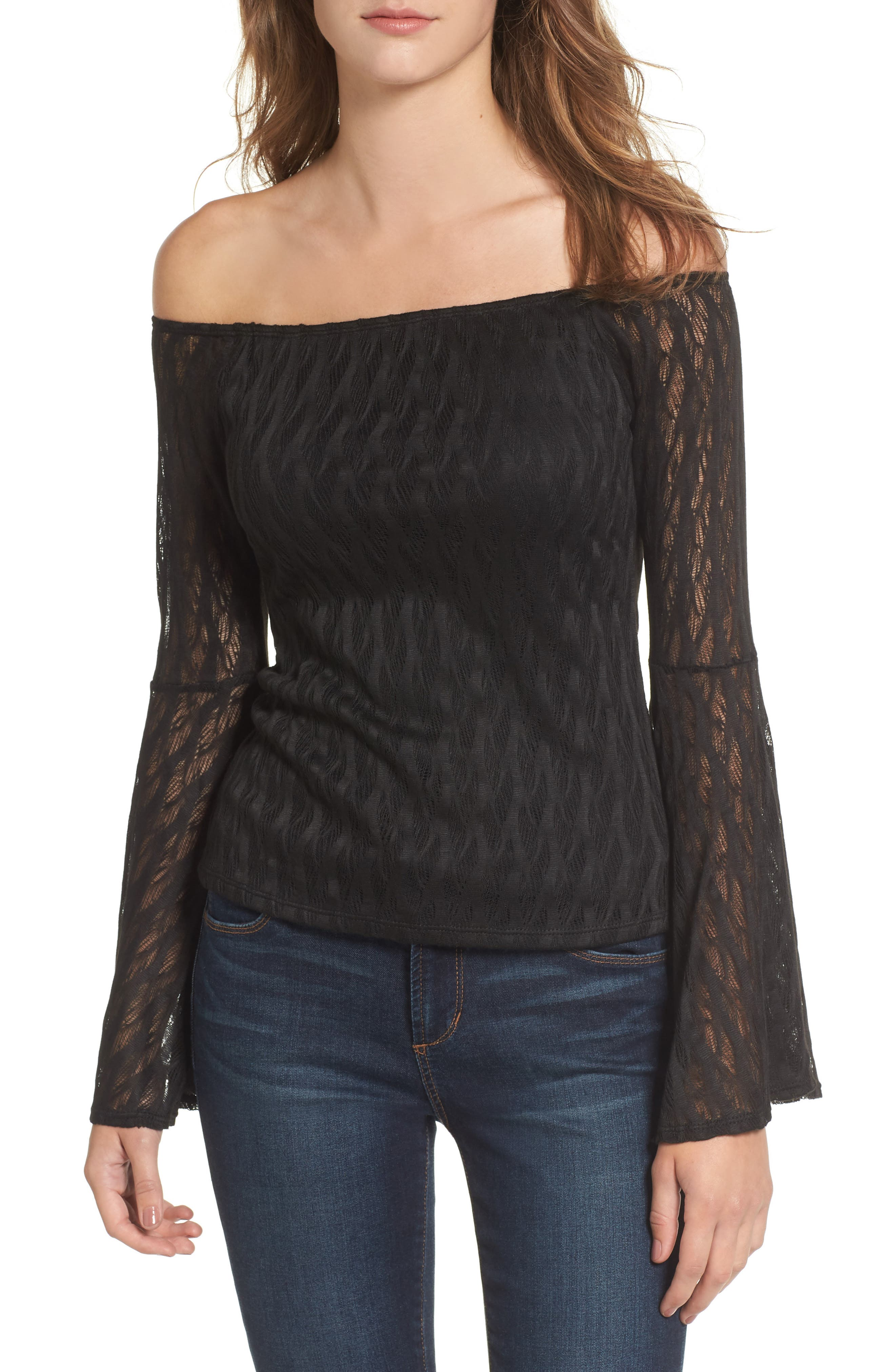 Bell Sleeve Off the Shoulder Top,                             Main thumbnail 1, color,                             001