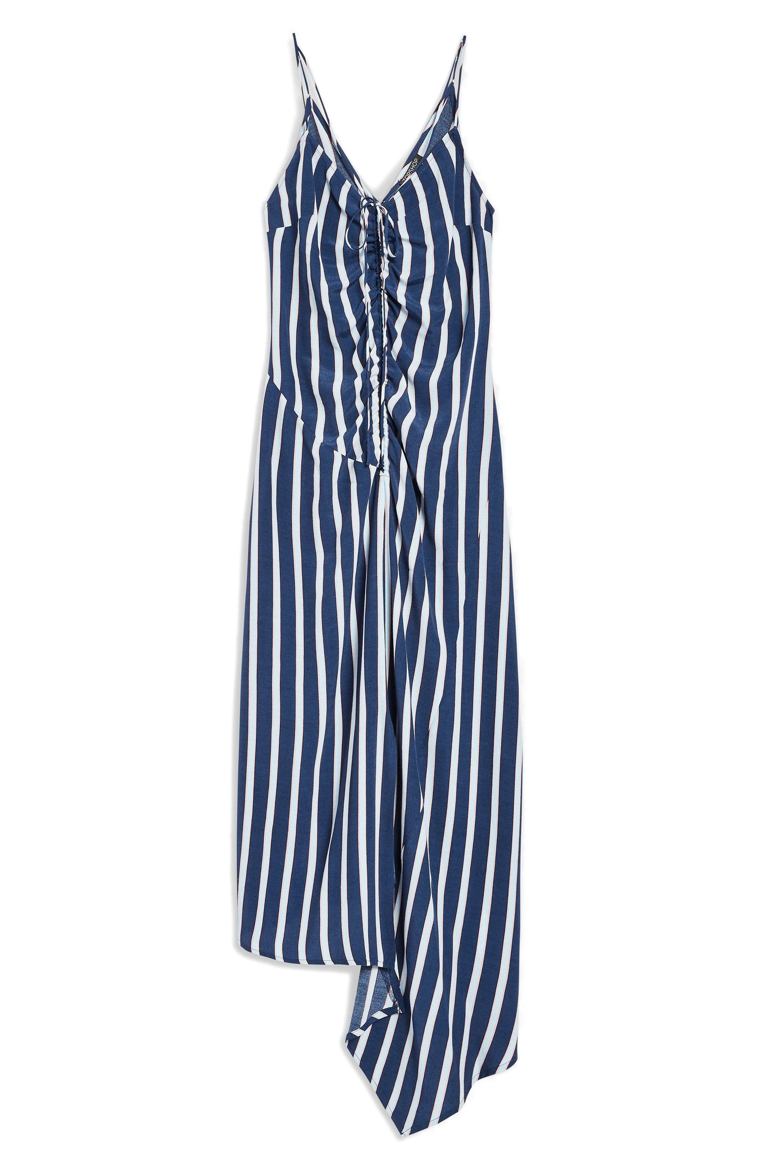 Stripe Ruched Slipdress,                             Alternate thumbnail 4, color,                             400