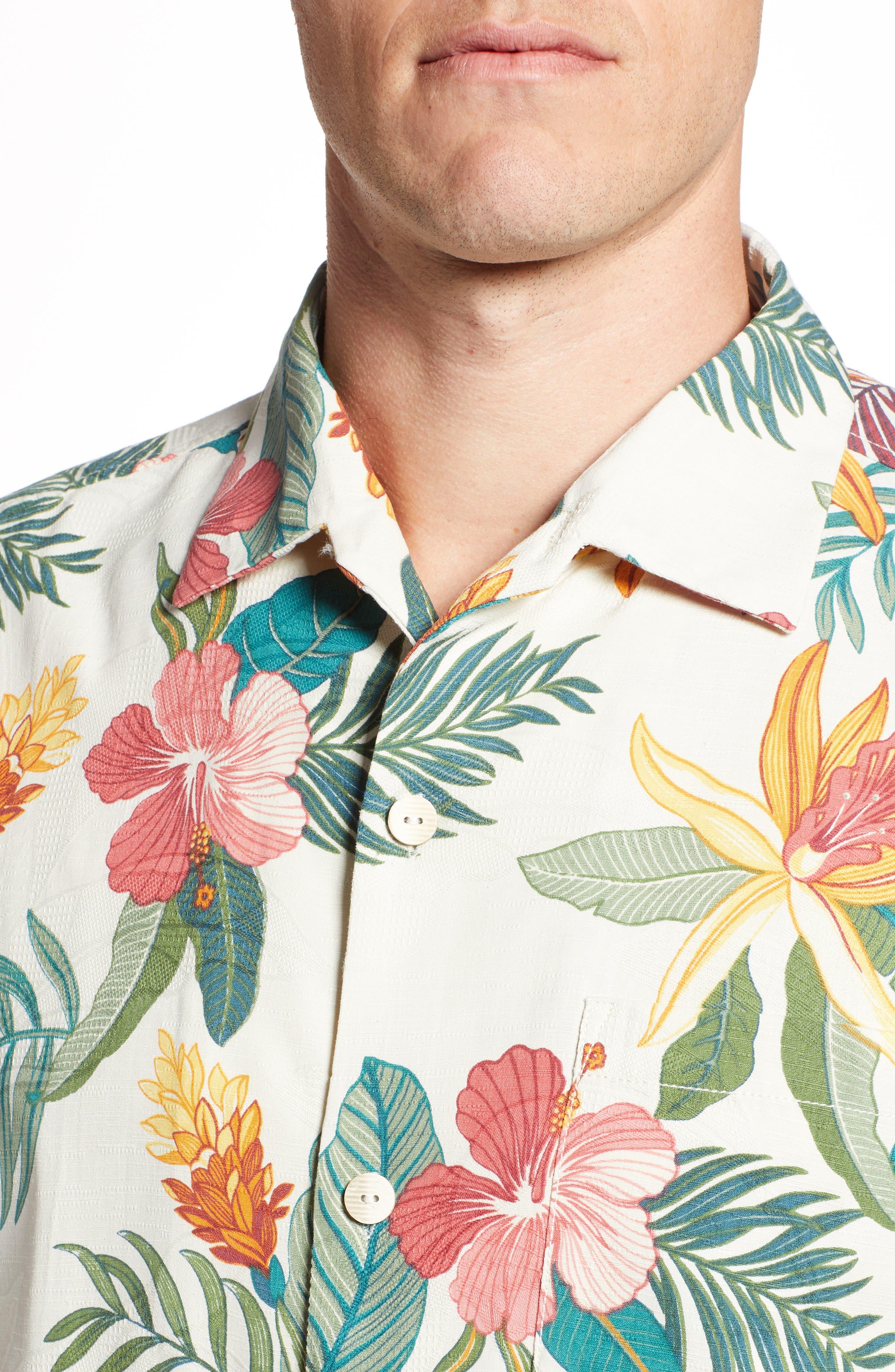 Beach Crest Blooms Short Sleeve Silk Blend Sport Shirt,                             Alternate thumbnail 4, color,                             CONTINENTAL