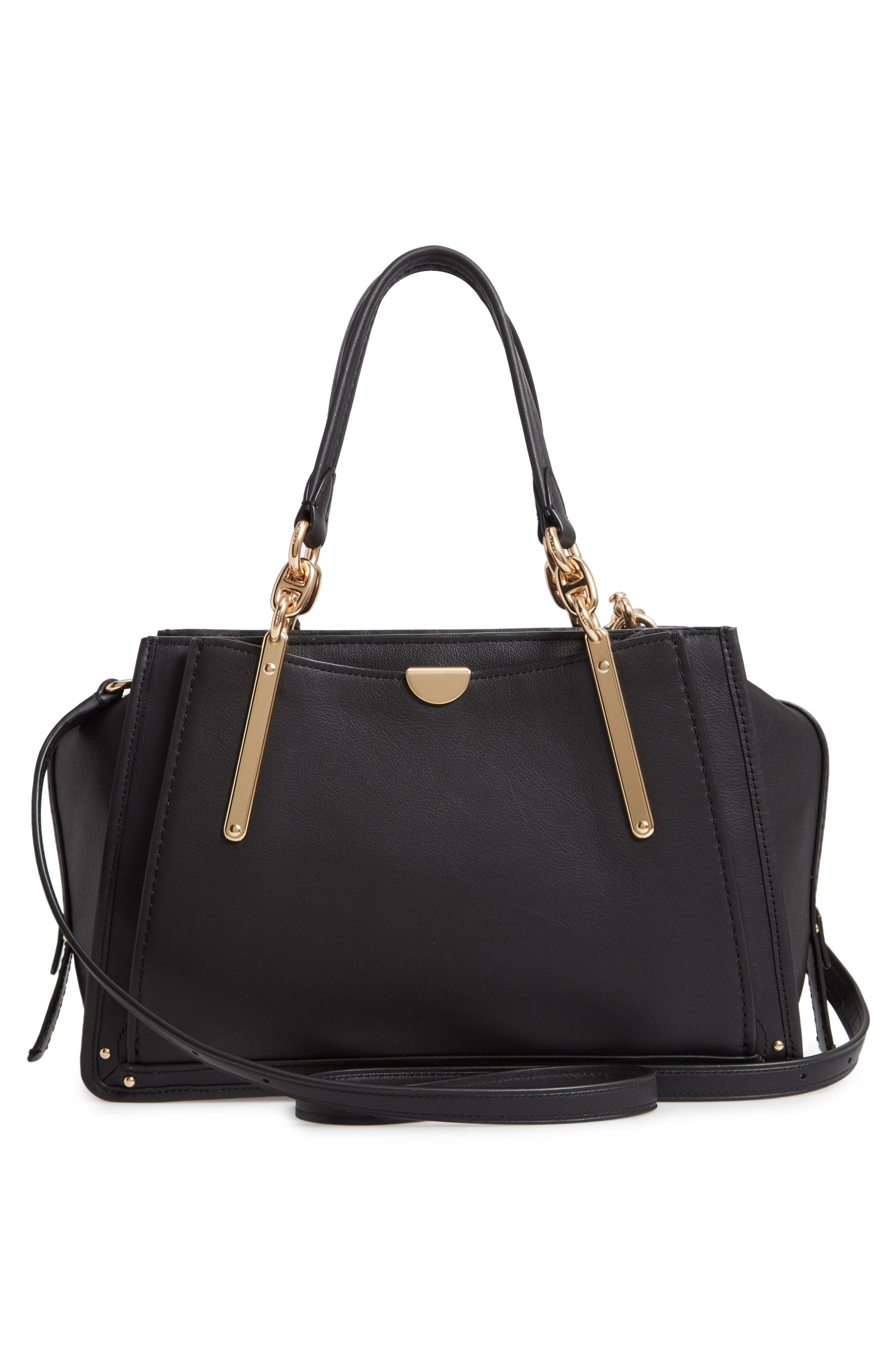 COACH,                             Dreamer Leather Bag,                             Alternate thumbnail 3, color,                             BLACK