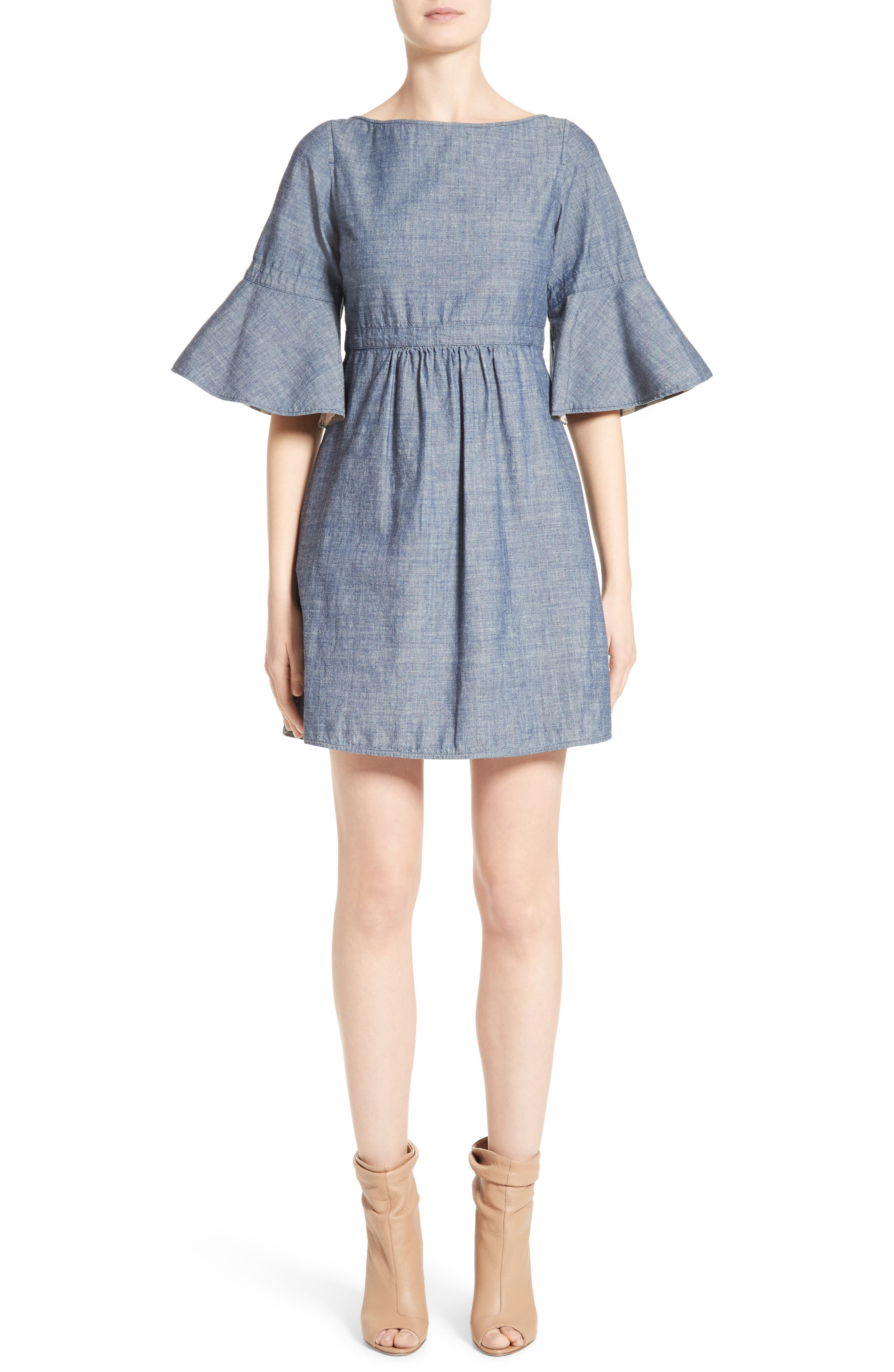Michelle Bell Sleeve Chambray Dress,                             Main thumbnail 1, color,                             423