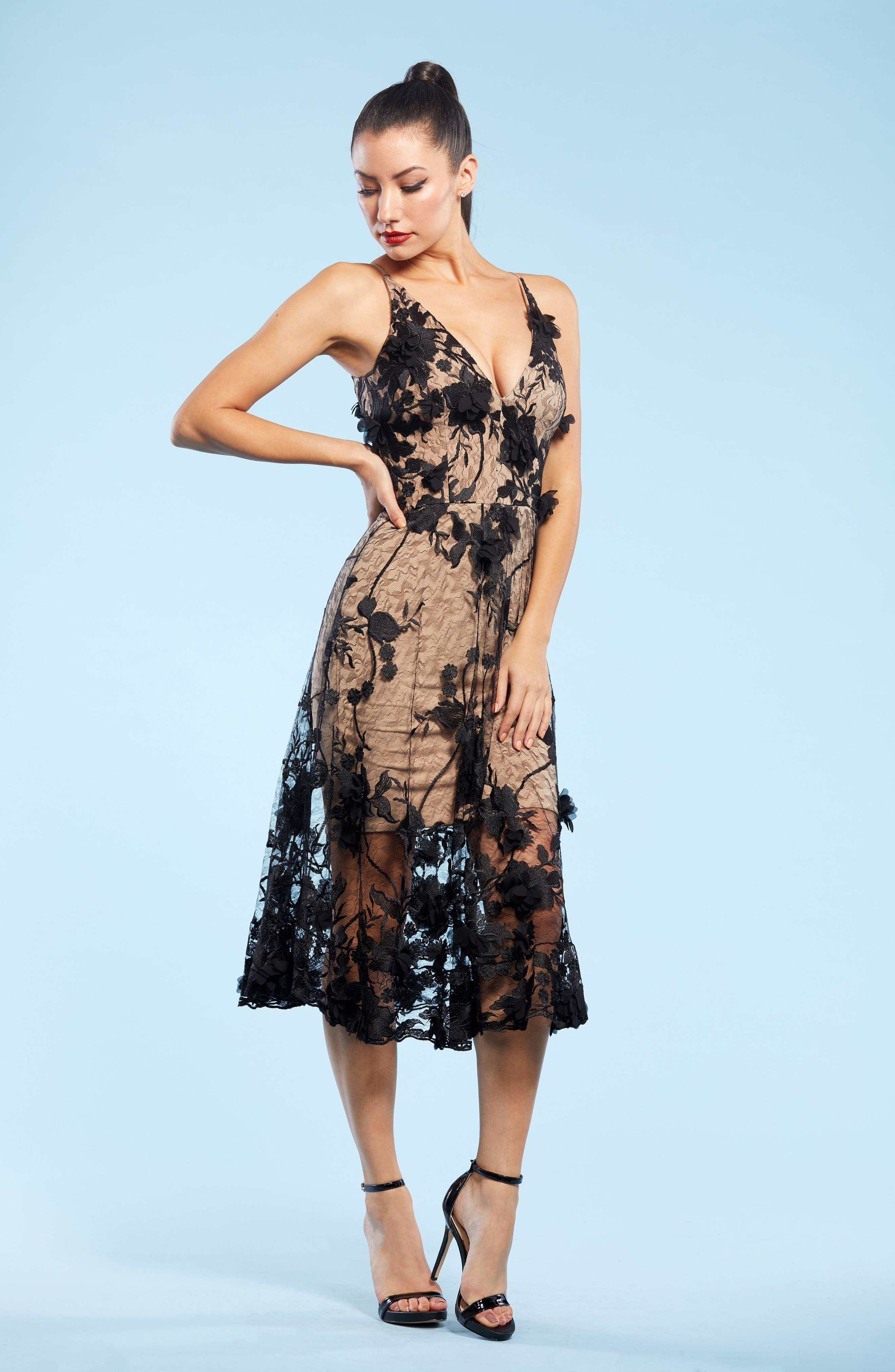 Audrey Embroidered Fit & Flare Dress,                             Alternate thumbnail 4, color,                             BLACK/ NUDE
