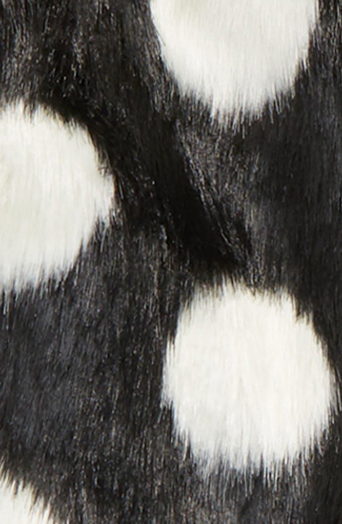 polka dot faux fur coat,                             Alternate thumbnail 2, color,                             001
