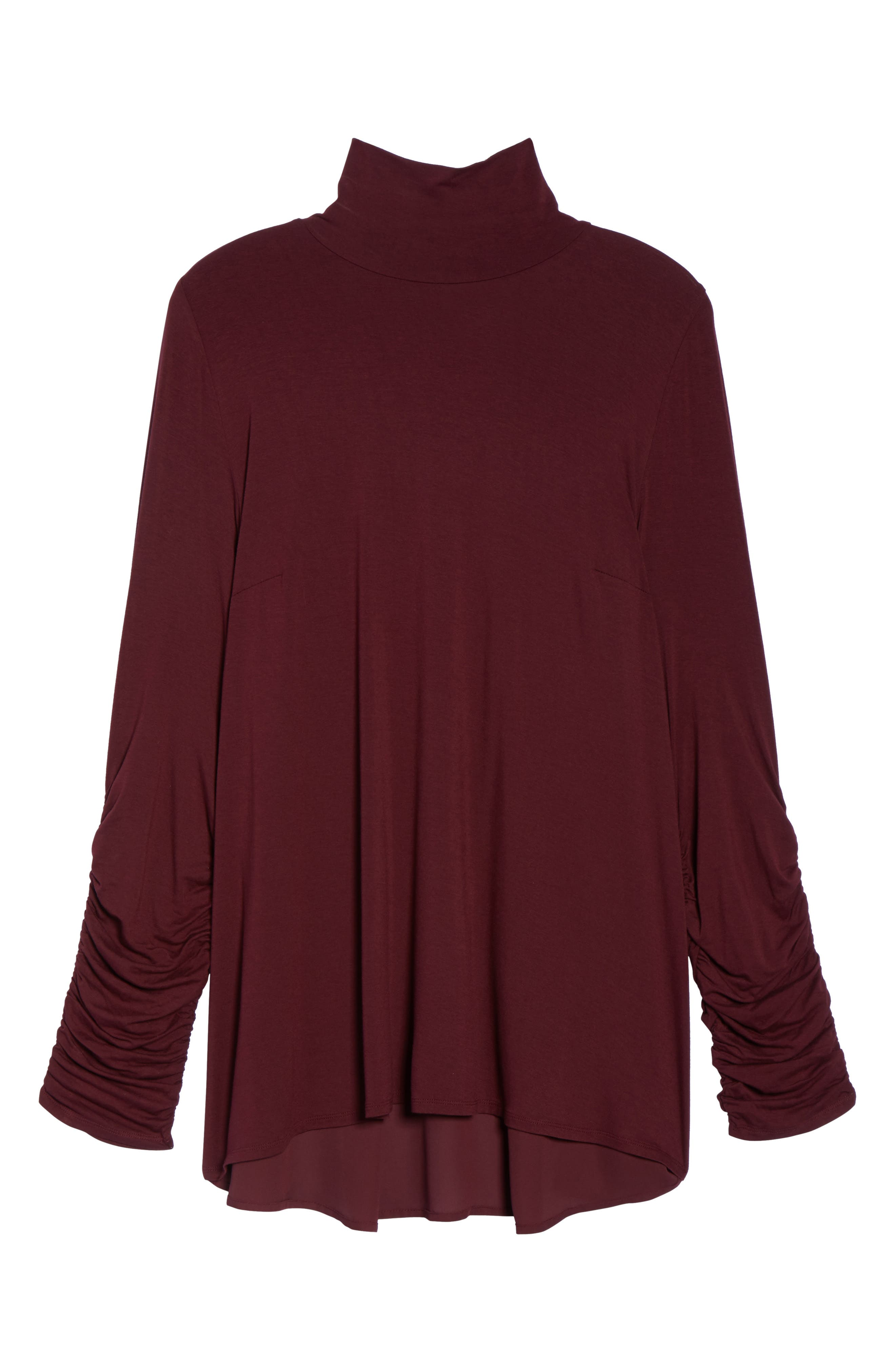 Ruched Sleeve Turtleneck Top,                             Alternate thumbnail 6, color,                             018