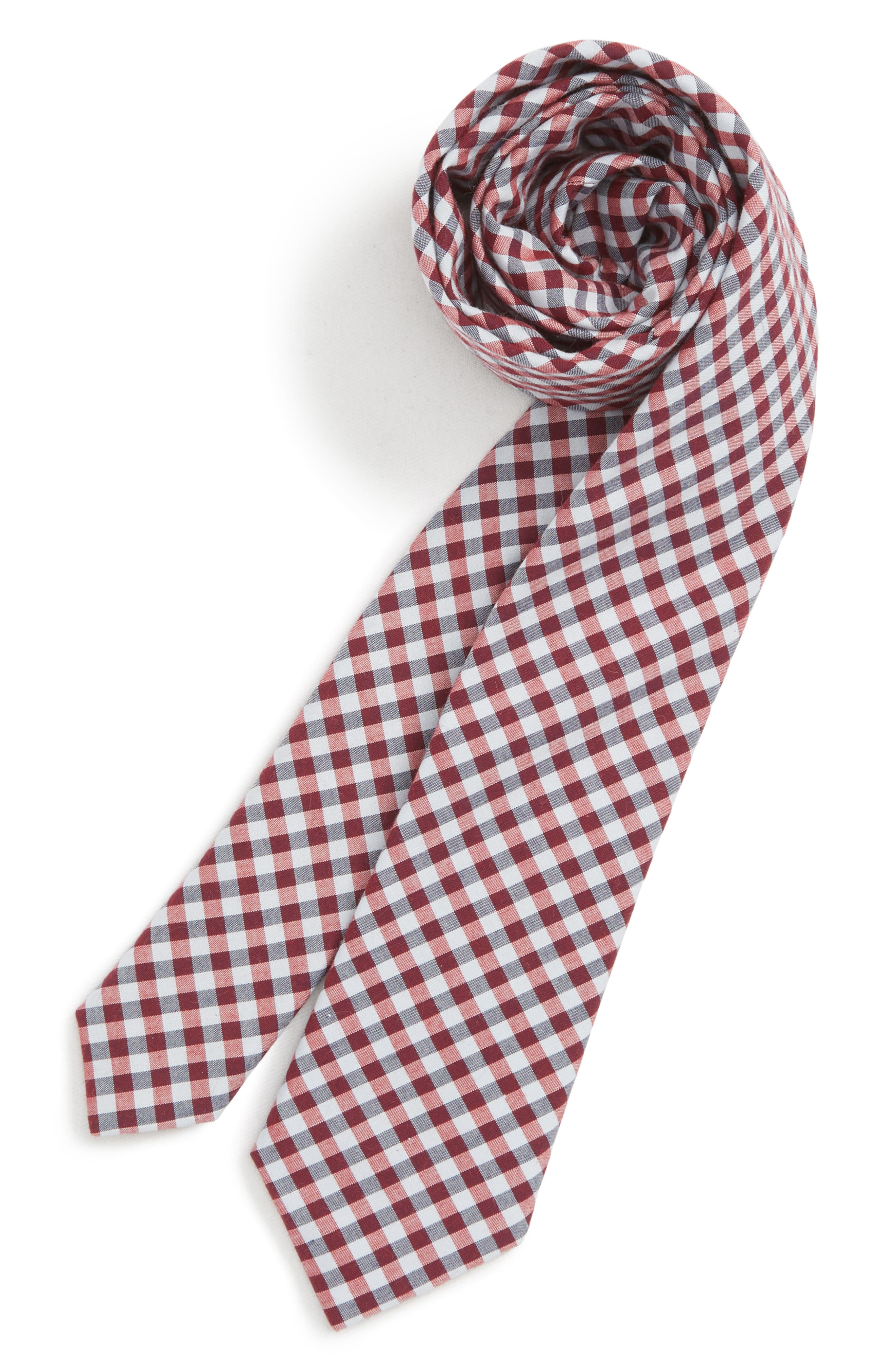 Check Cotton Tie,                             Main thumbnail 1, color,                             RED