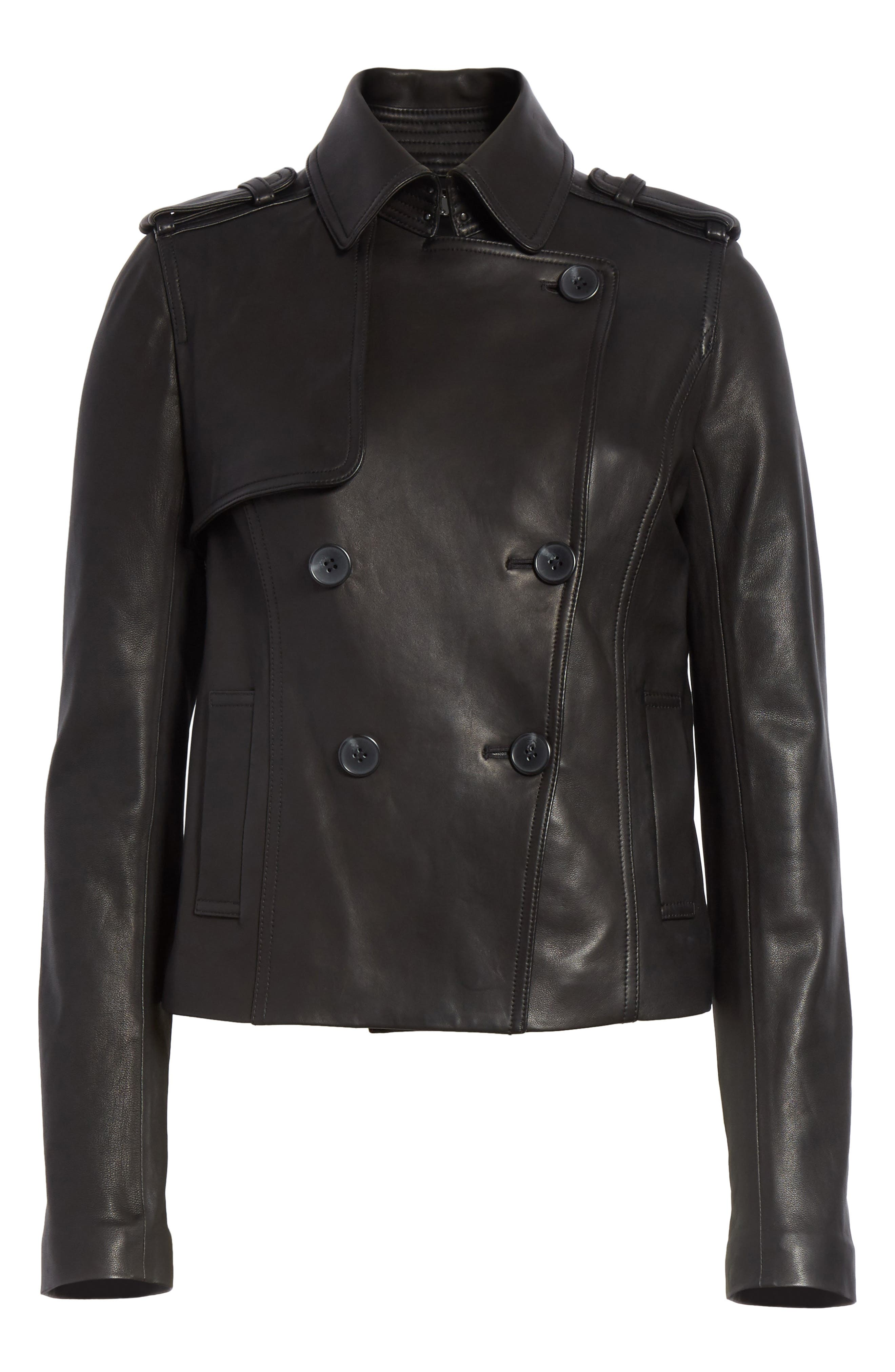 Crop Leather Trench Coat,                             Alternate thumbnail 5, color,                             001