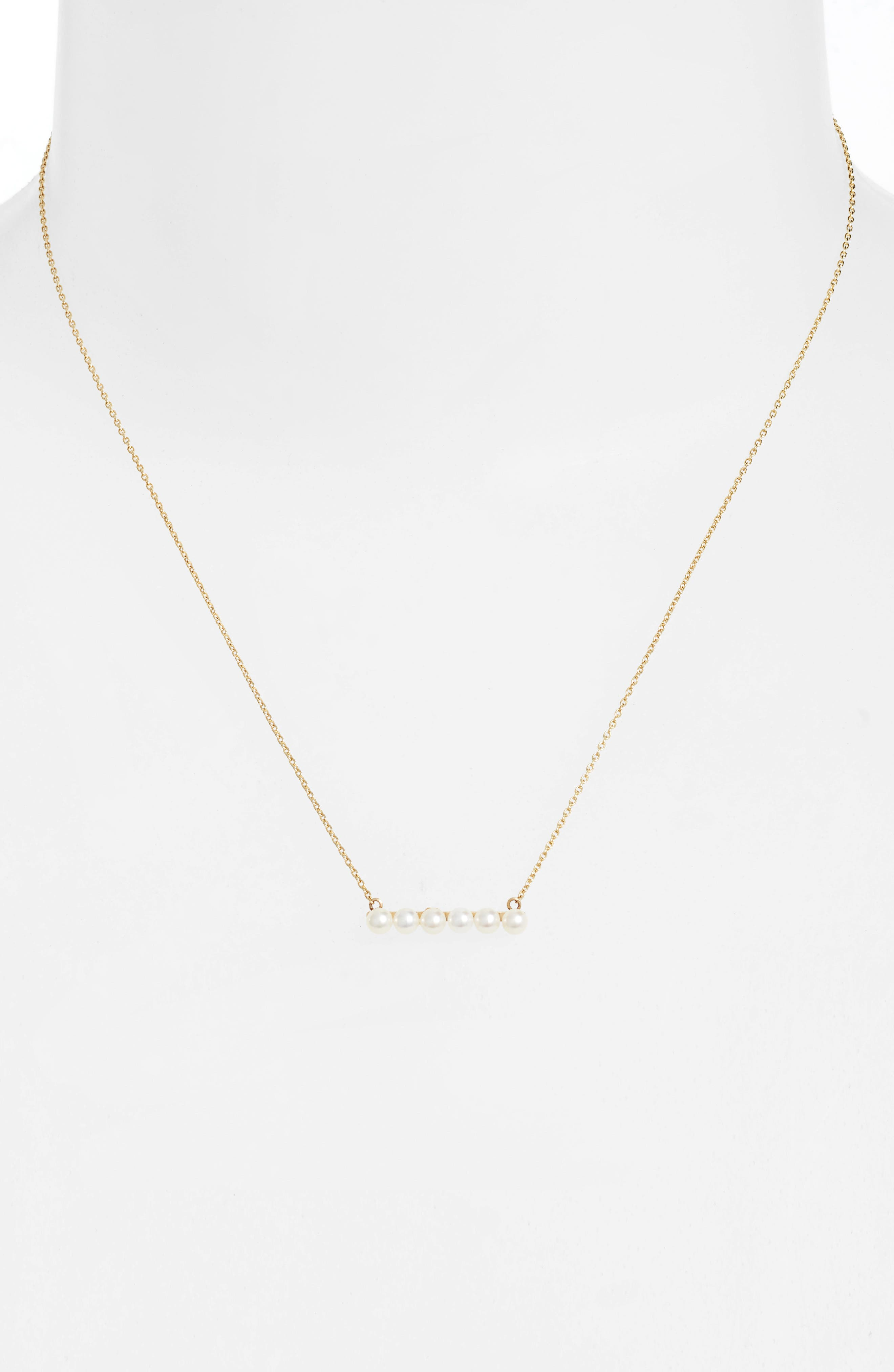 Cultured Baby Pearl Bar Necklace,                             Alternate thumbnail 2, color,                             YELLOW GOLD/ WHITE PEARL
