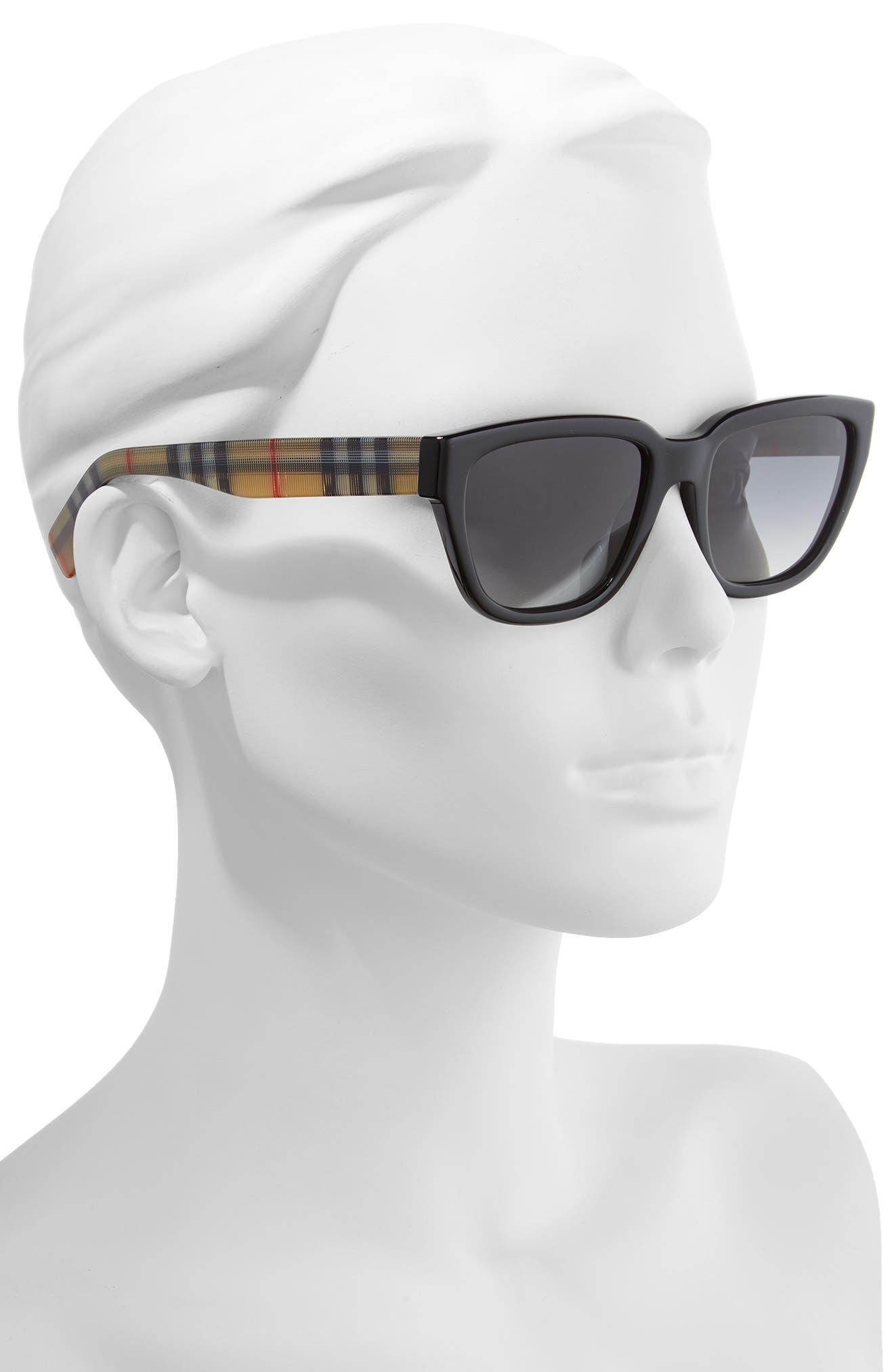 54mm Polarized Gradient Square Sunglasses,                             Alternate thumbnail 2, color,                             BLACK/ BLACK GRADIENT