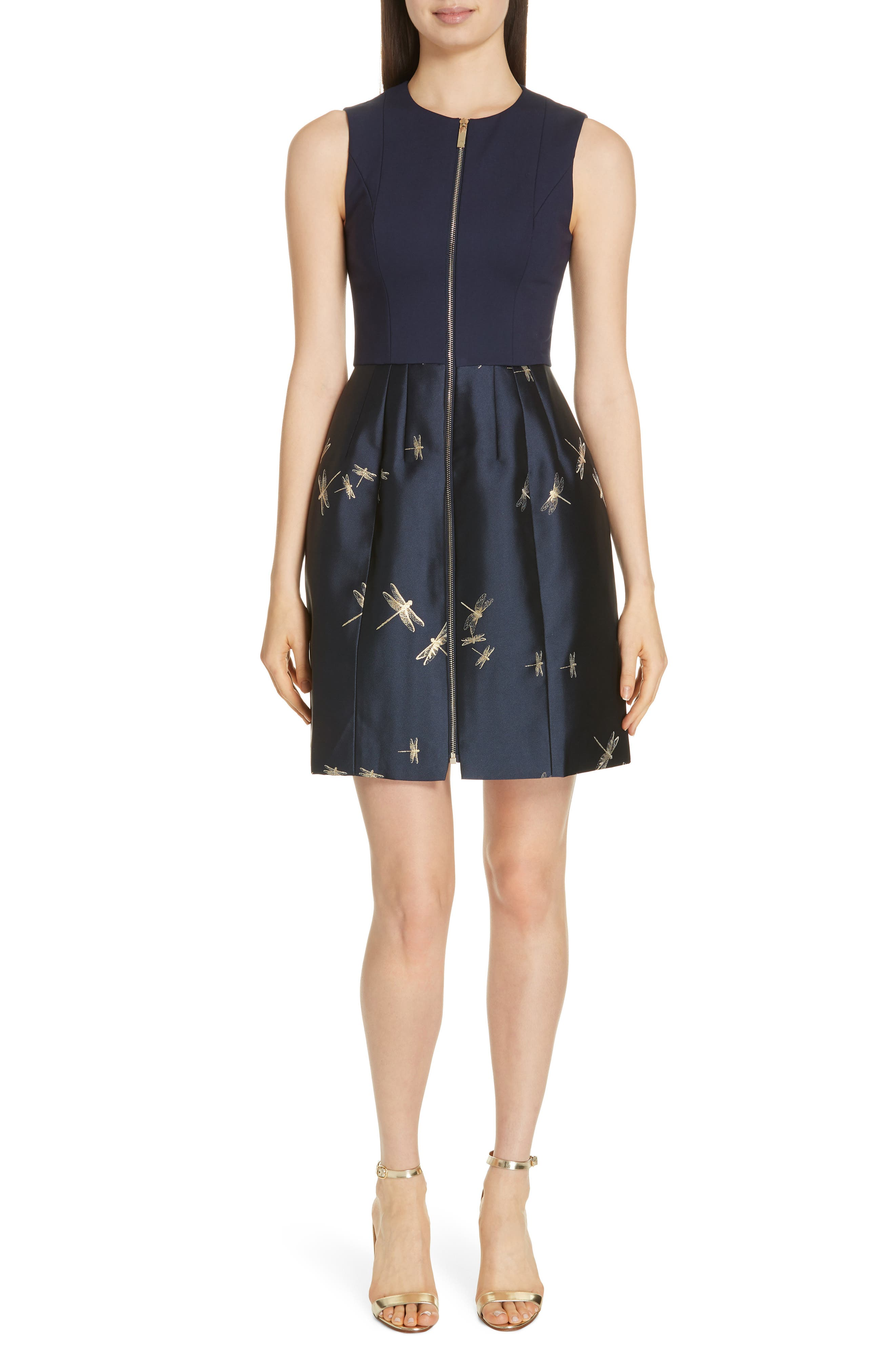 Adellu Fit & Flare Dress,                         Main,                         color, NAVY