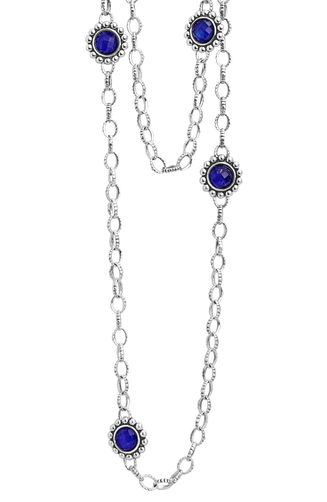 'Maya' Long Station Necklace,                             Alternate thumbnail 6, color,                             LAPIS