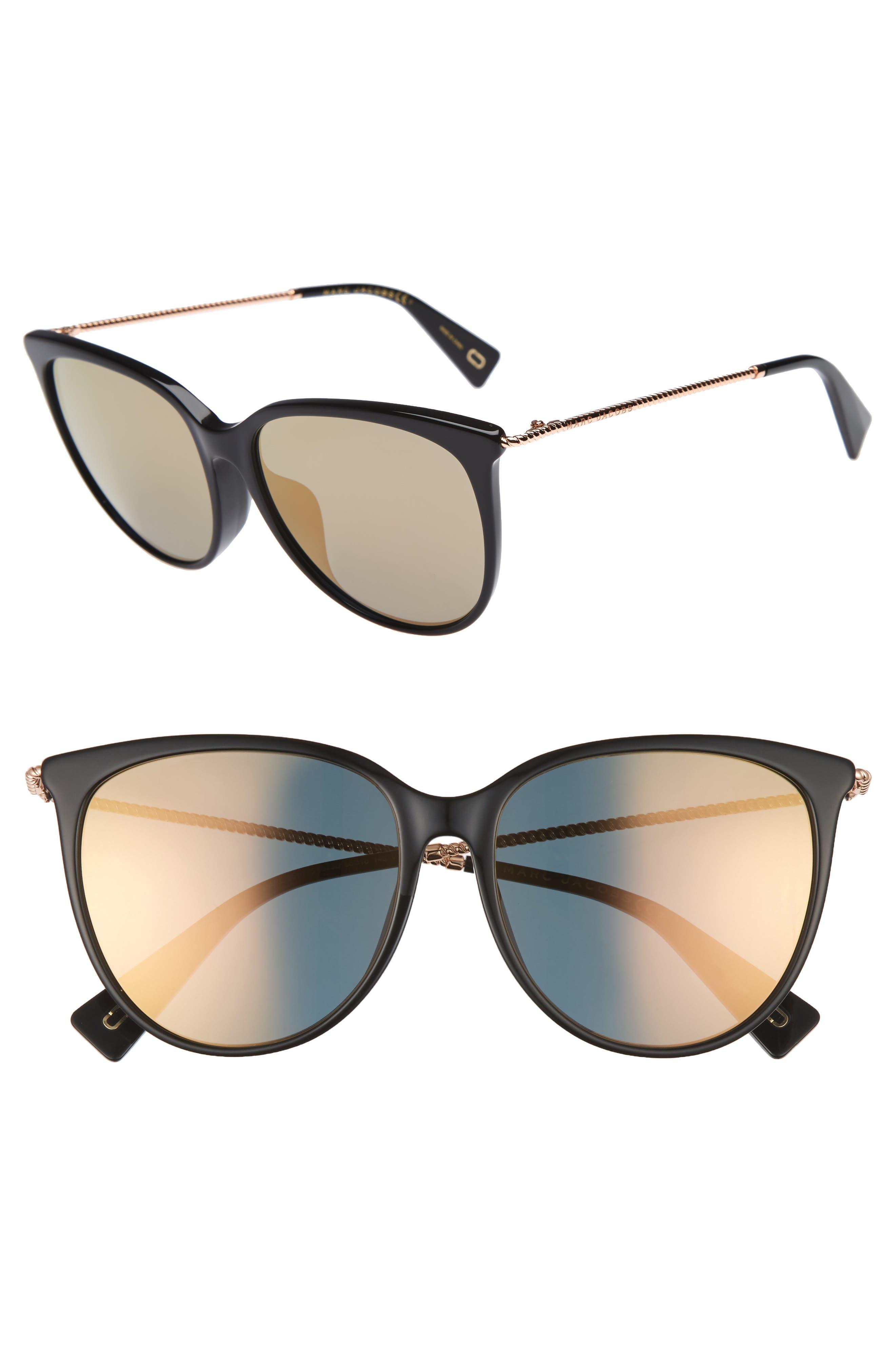 MARC JACOBS 56mm Cat Eye Sunglasses, Main, color, 001