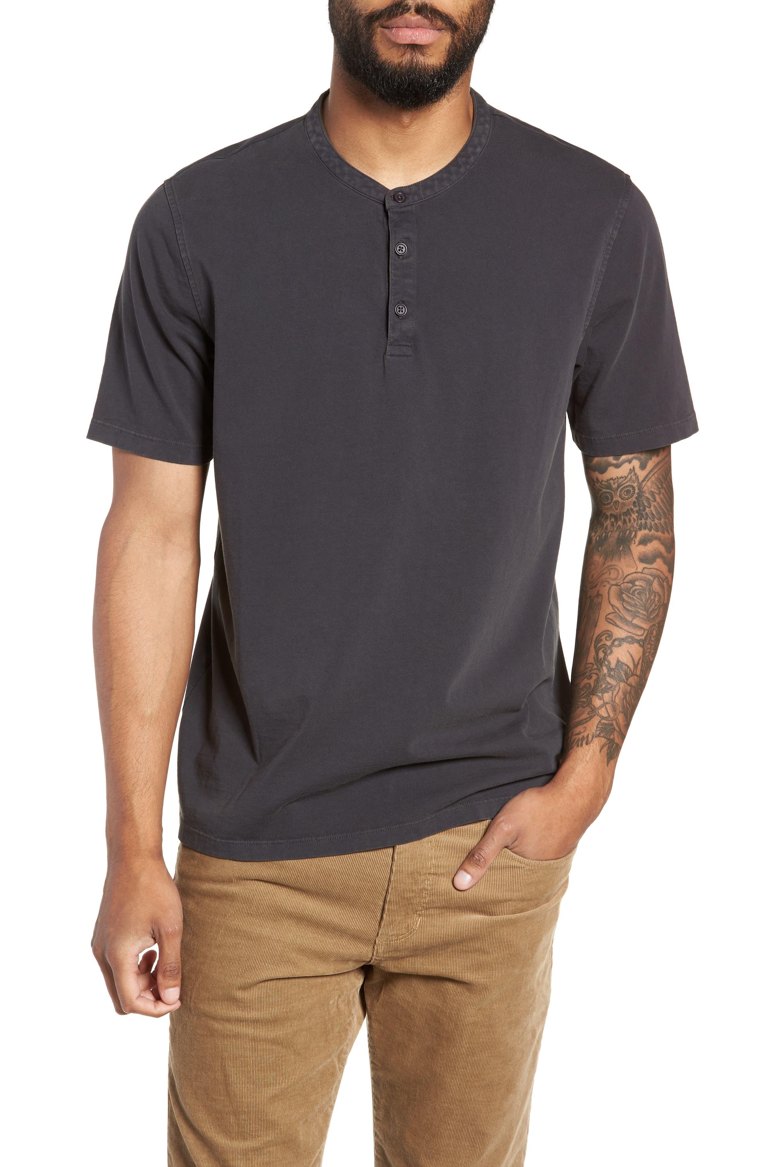 Regular Fit Garment Dye Short Sleeve Henley,                         Main,                         color, WASHED BLACK