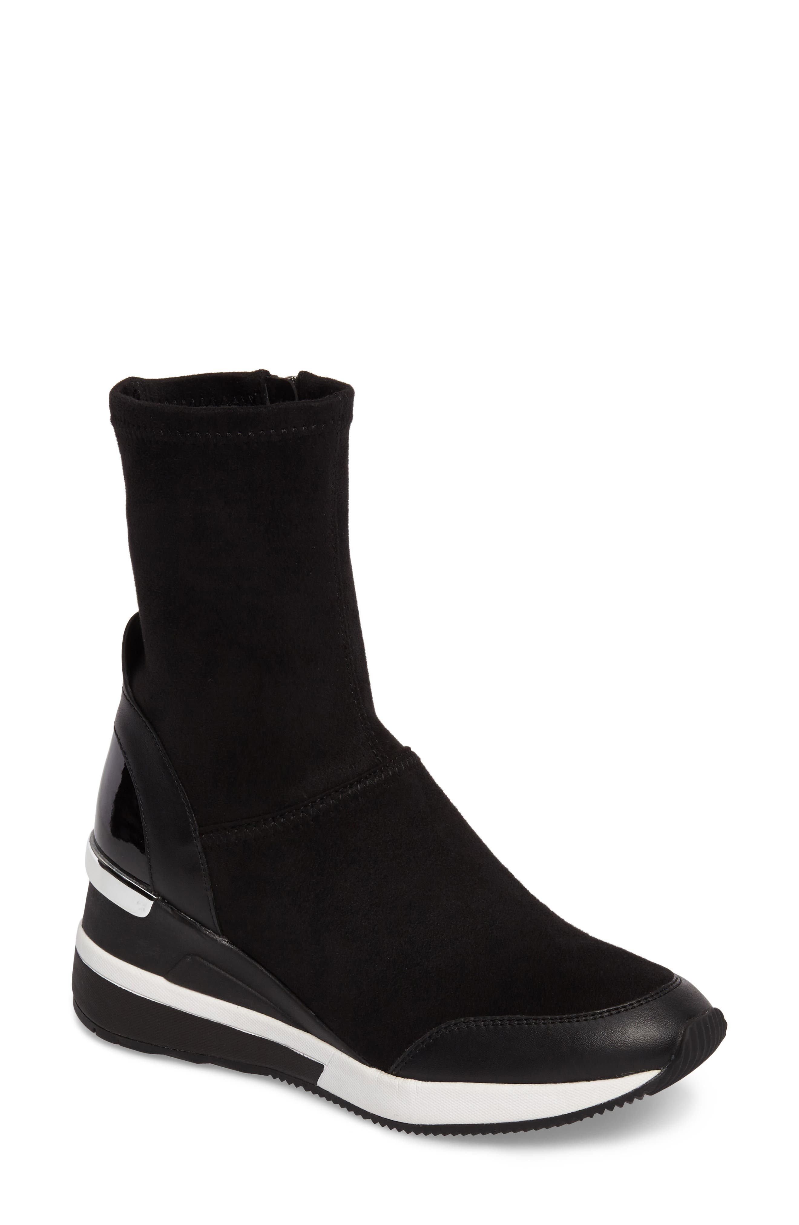 'Ace' Wedge Sneaker Bootie,                             Main thumbnail 1, color,                             BLACK SUEDE