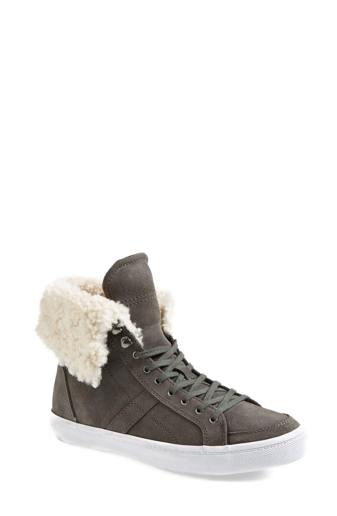 REBECCA MINKOFF,                             'Sasha' Suede High Top Sneaker,                             Main thumbnail 1, color,                             020